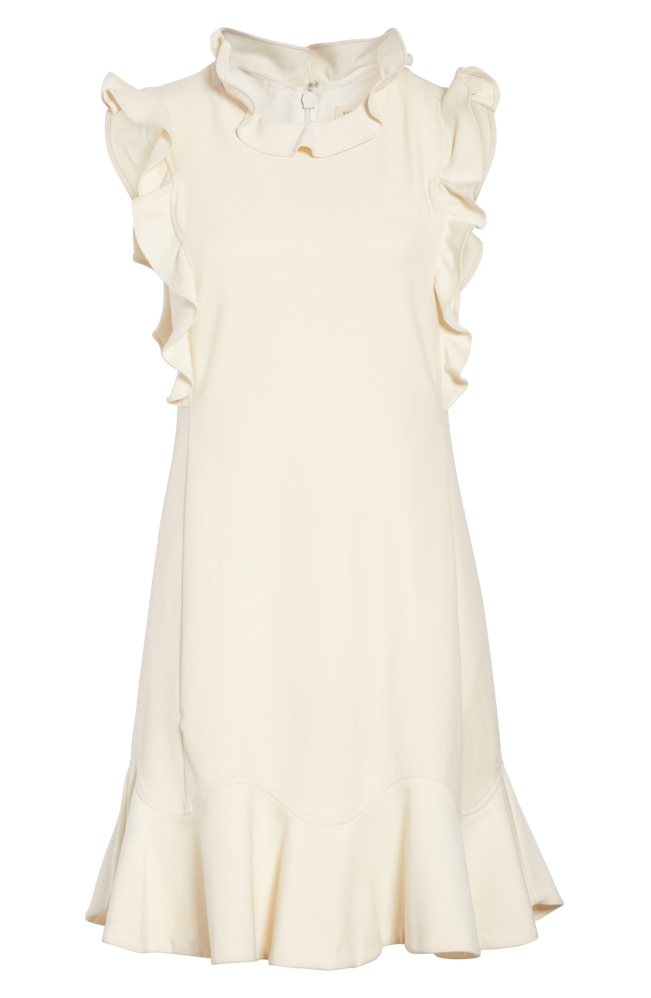 Ruffle Trim Suit Dress,                             Alternate thumbnail 6, color,                             Cream Combo