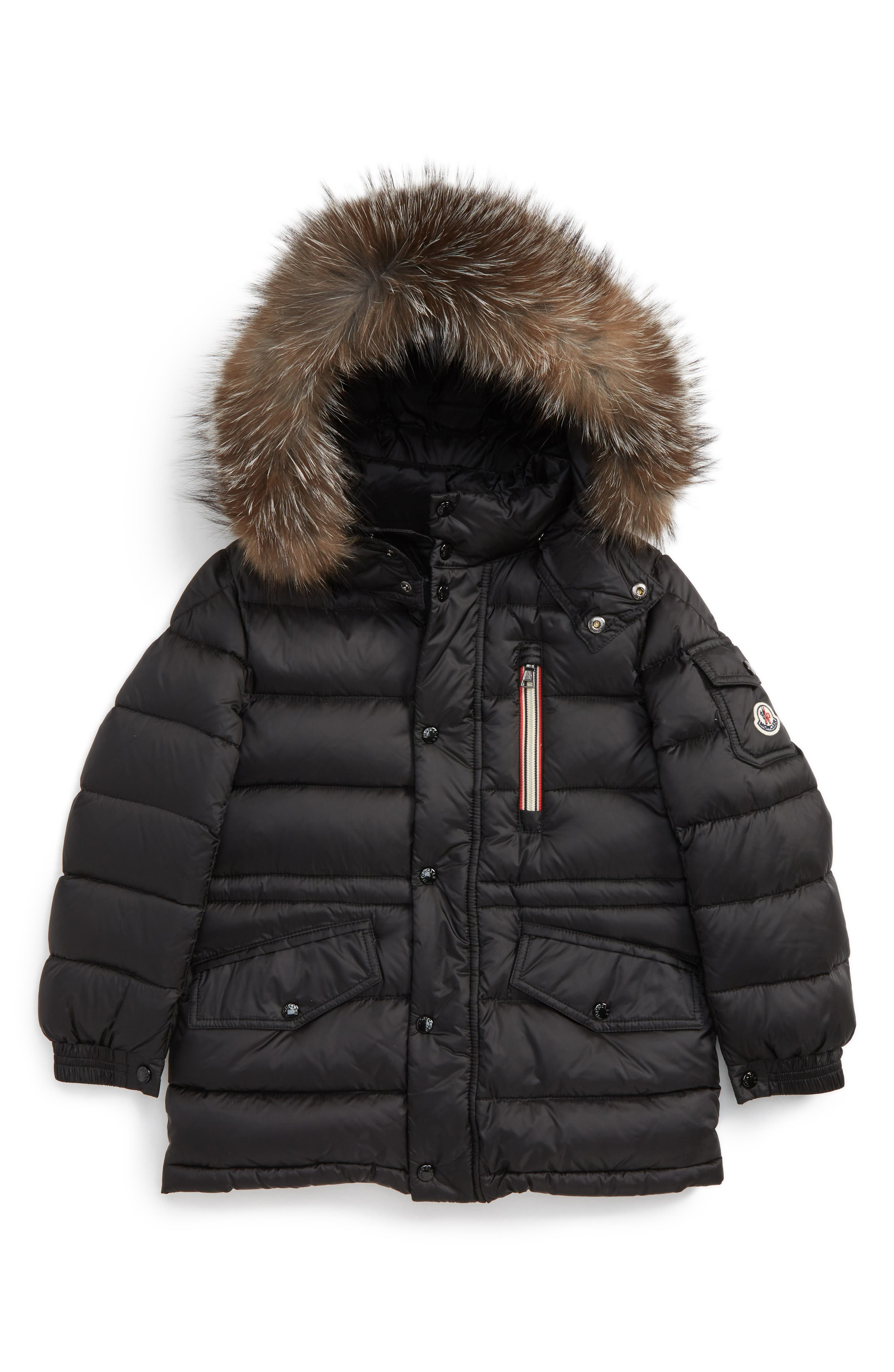 Main Image - Moncler Lilian Water Resistant Down Parka with Genuine Fox Fur Trim (Little Girls & Big Girls)