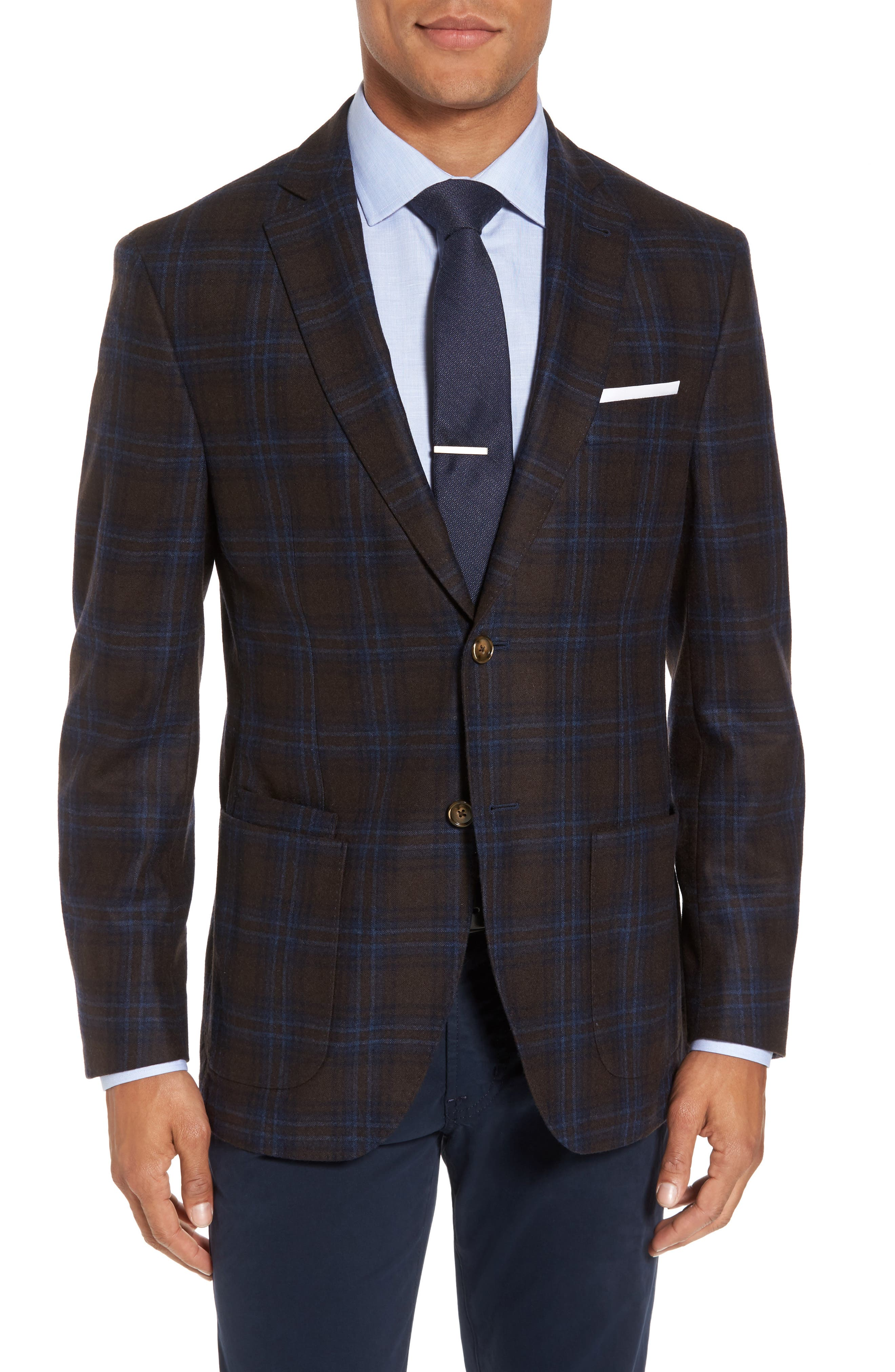 Alternate Image 1 Selected - JKT New York Trim Fit Plaid Wool Blend Sport Coat