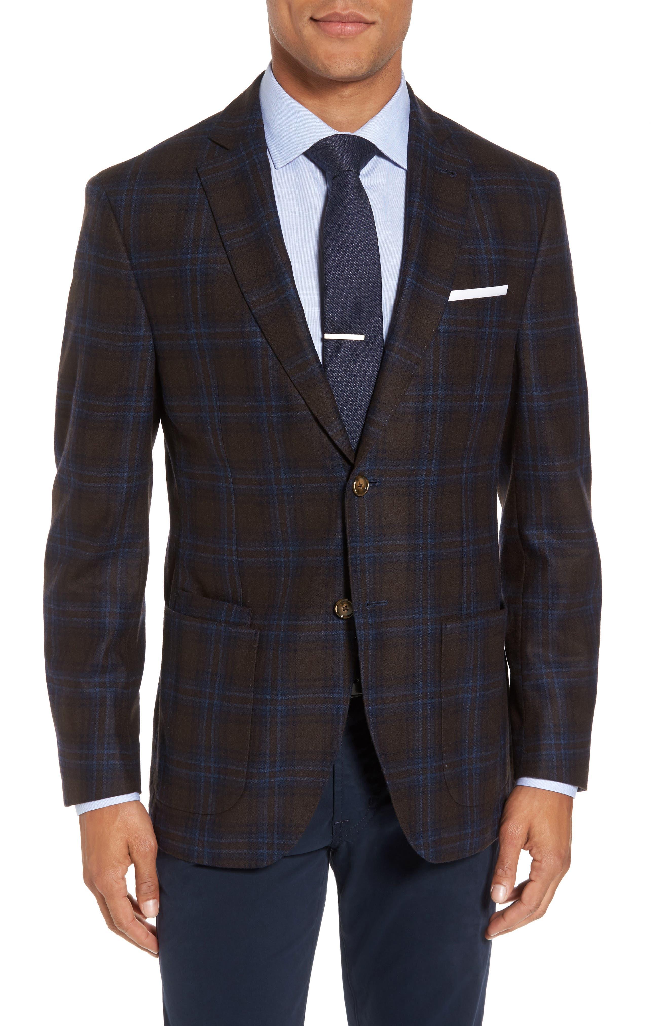 Main Image - JKT New York Trim Fit Plaid Wool Blend Sport Coat