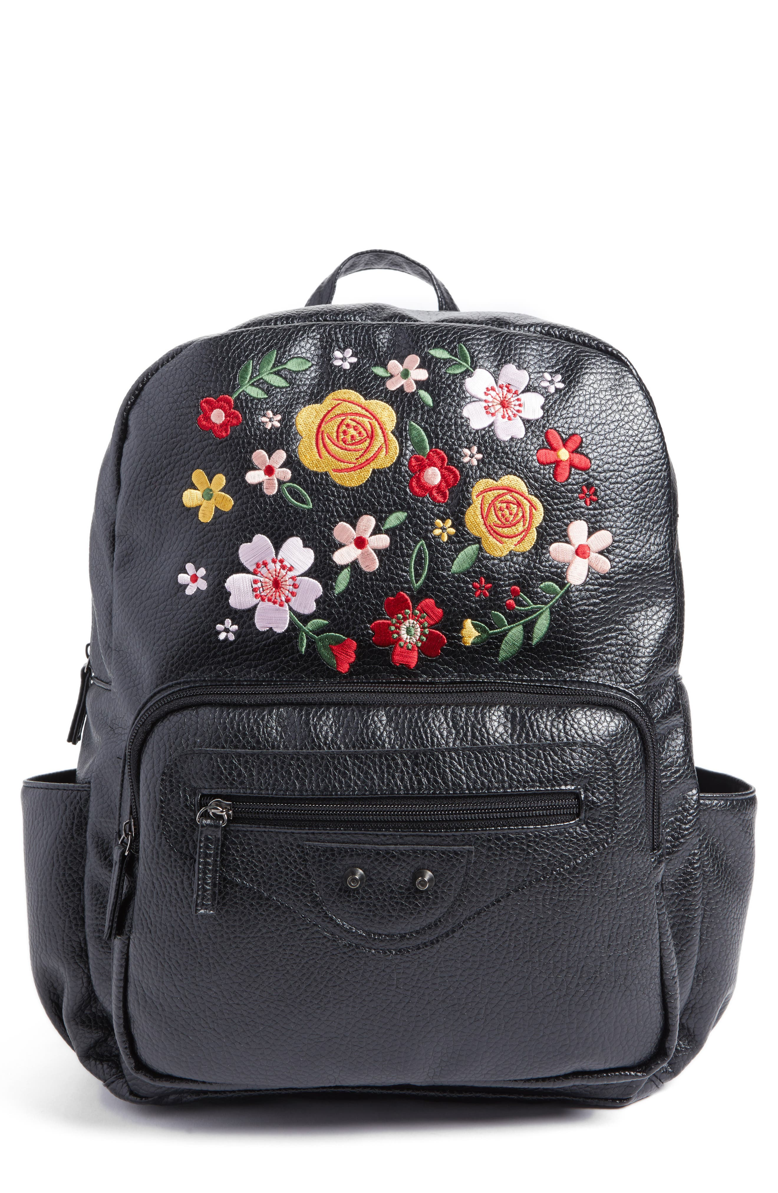 Embroidered Backpack,                         Main,                         color, Black