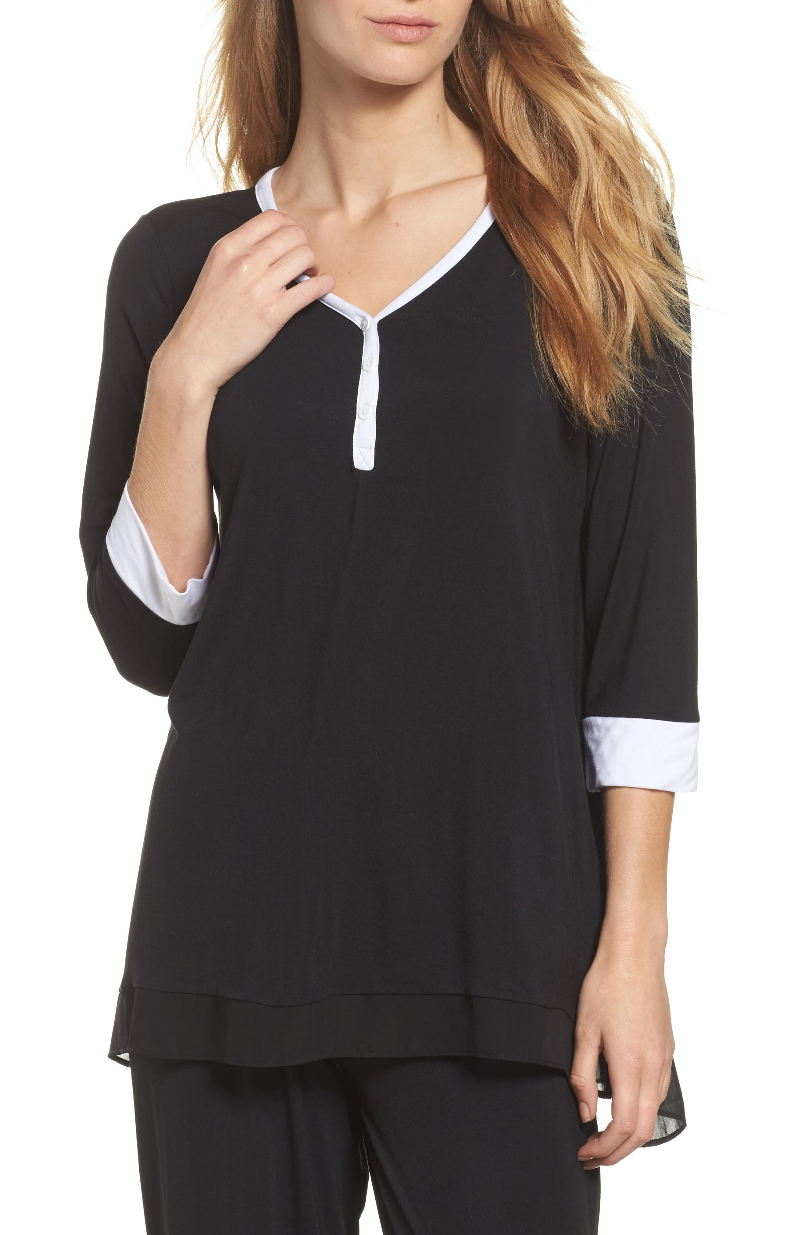 Pajama Top,                         Main,                         color, Black