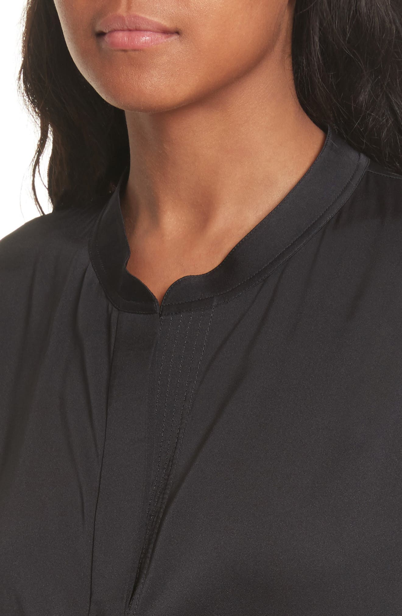Shirred Stretch Silk Blouse,                             Alternate thumbnail 5, color,                             Black