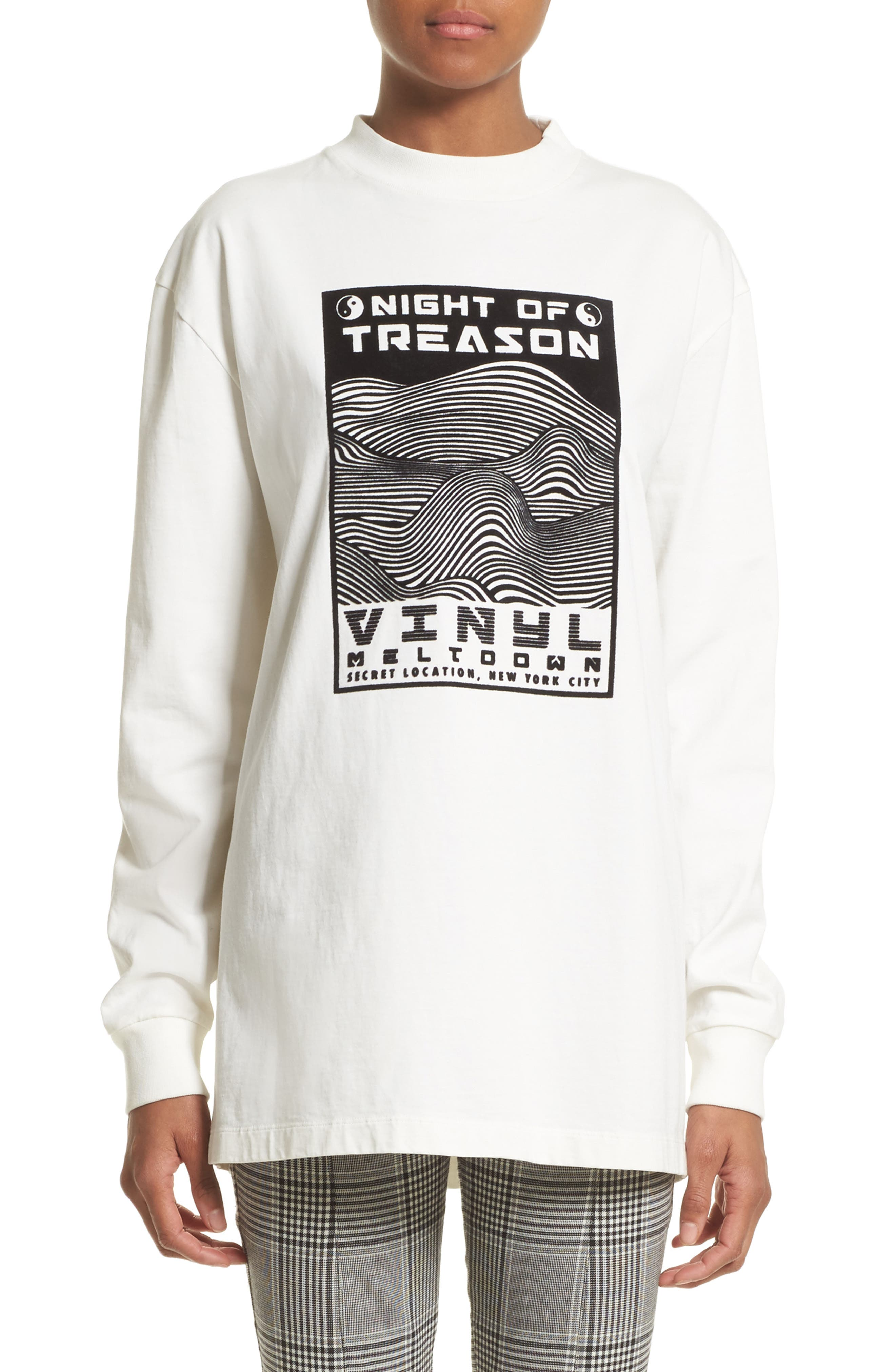 Flocked Graphic Sweatshirt,                         Main,                         color, White