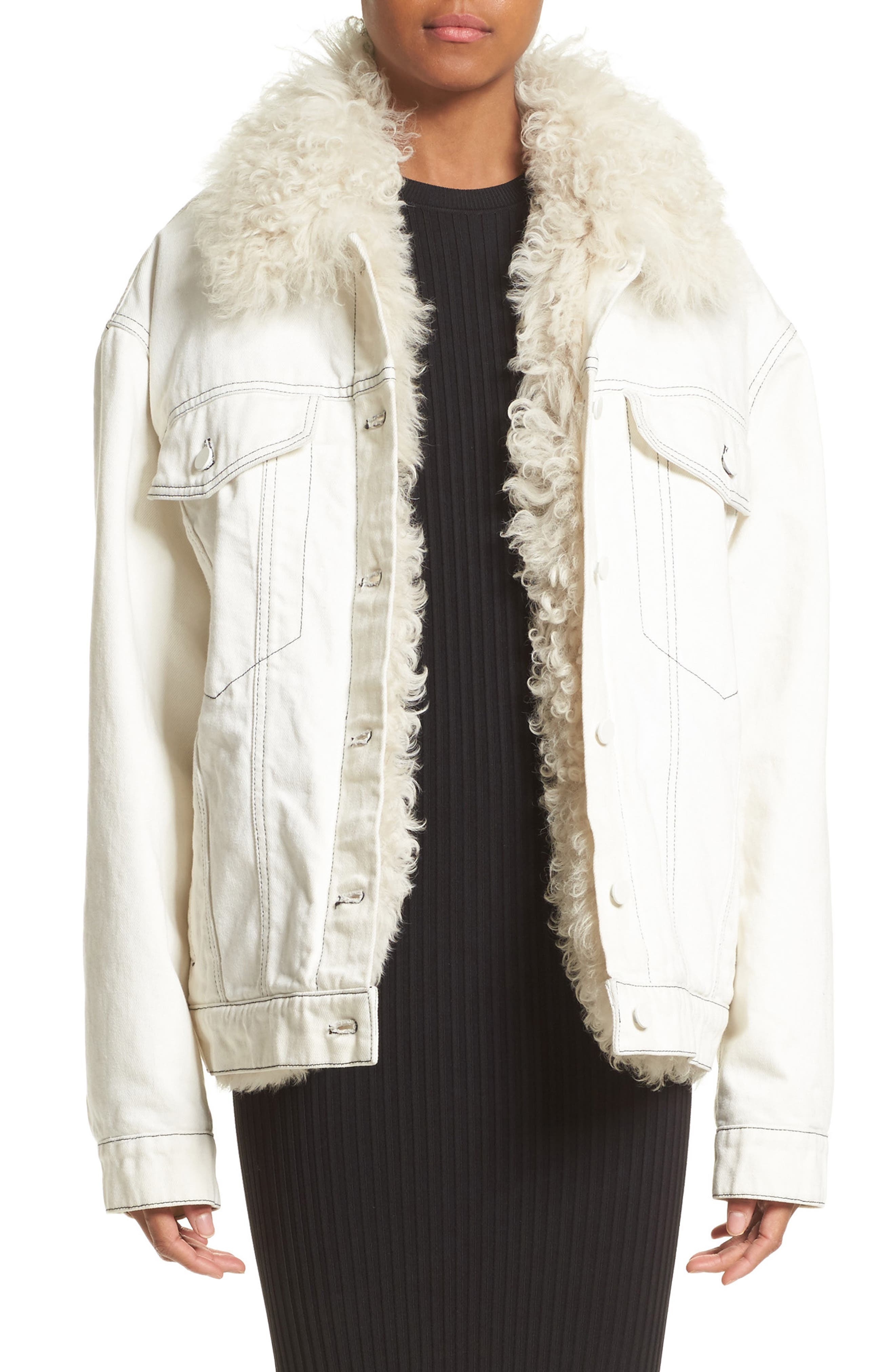 Denim Boyfriend Jacket with Genuine Shearling Lining,                         Main,                         color, Ivory