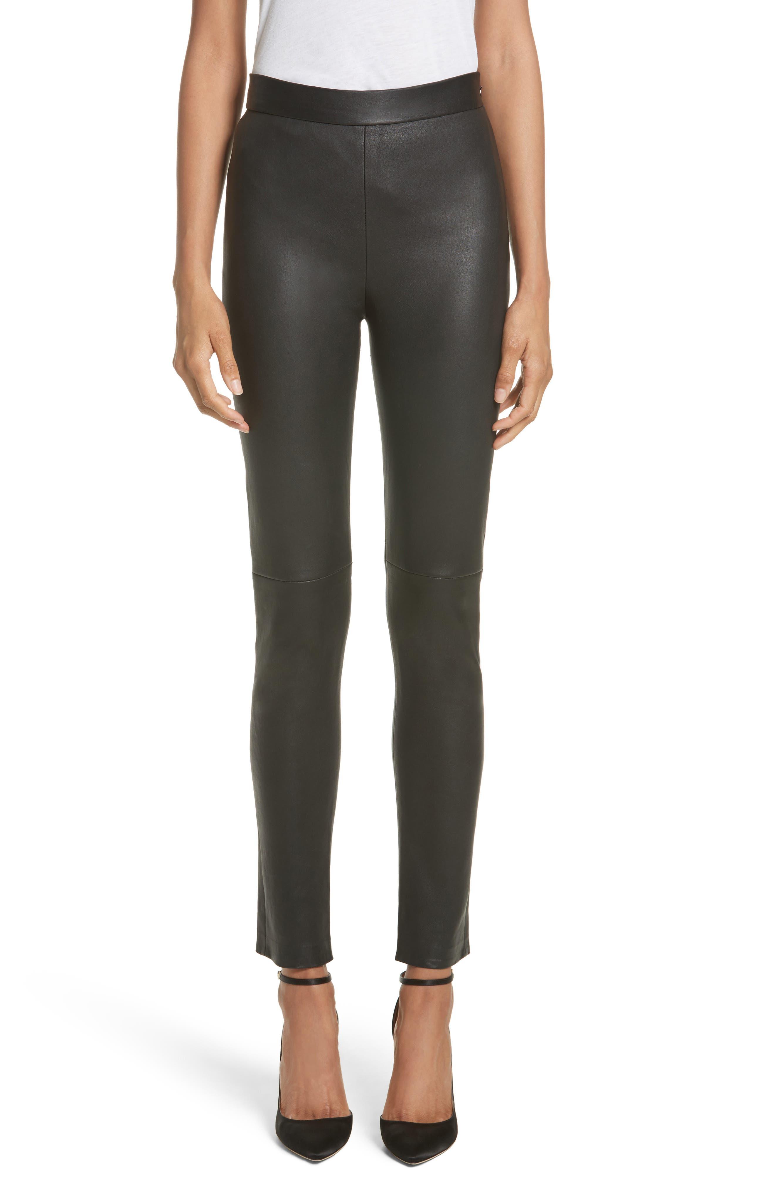 Leather Cigarette Pants,                         Main,                         color, Black