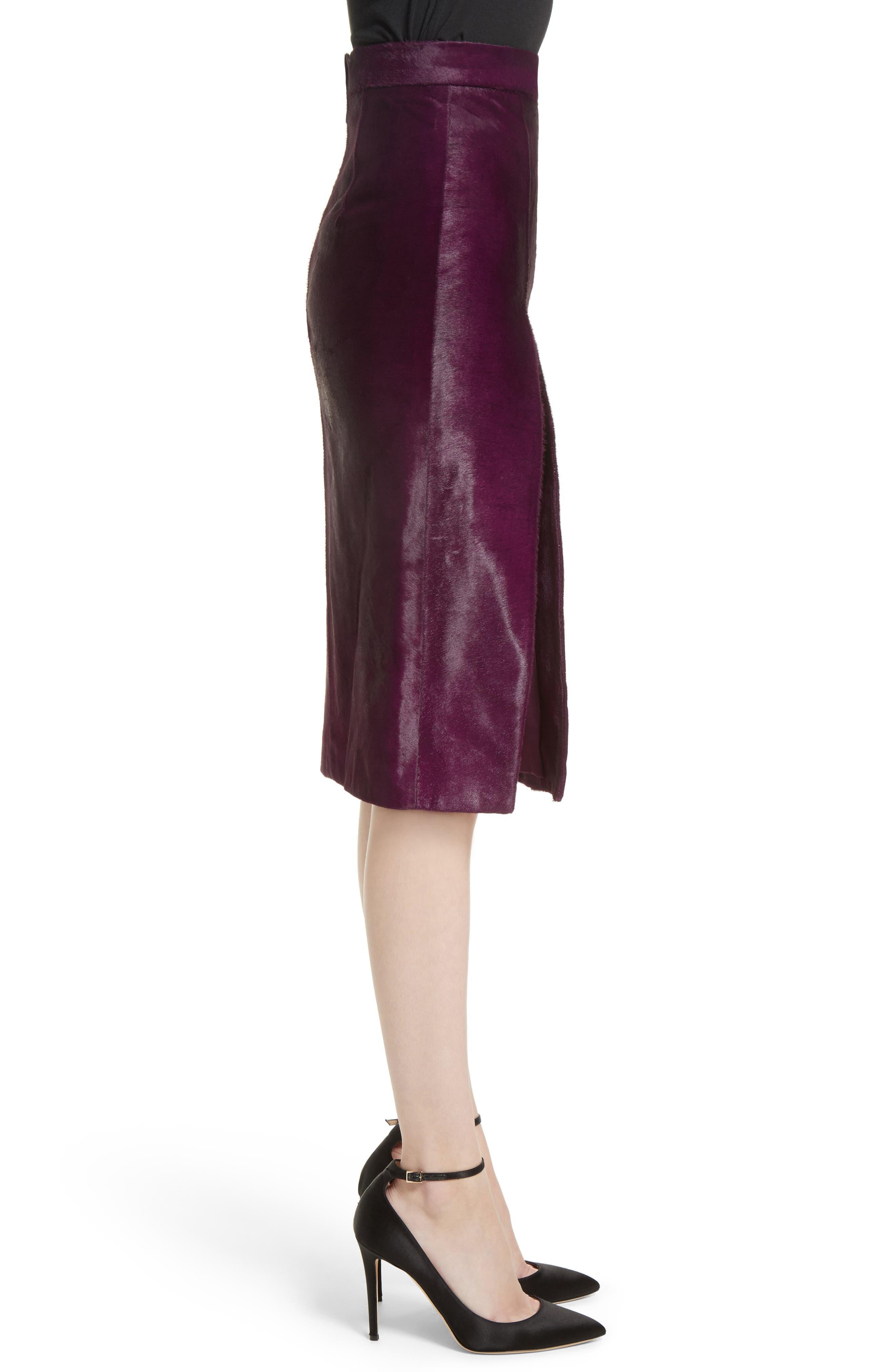 Genuine Calf Hair Pencil Skirt,                             Alternate thumbnail 4, color,                             Purple