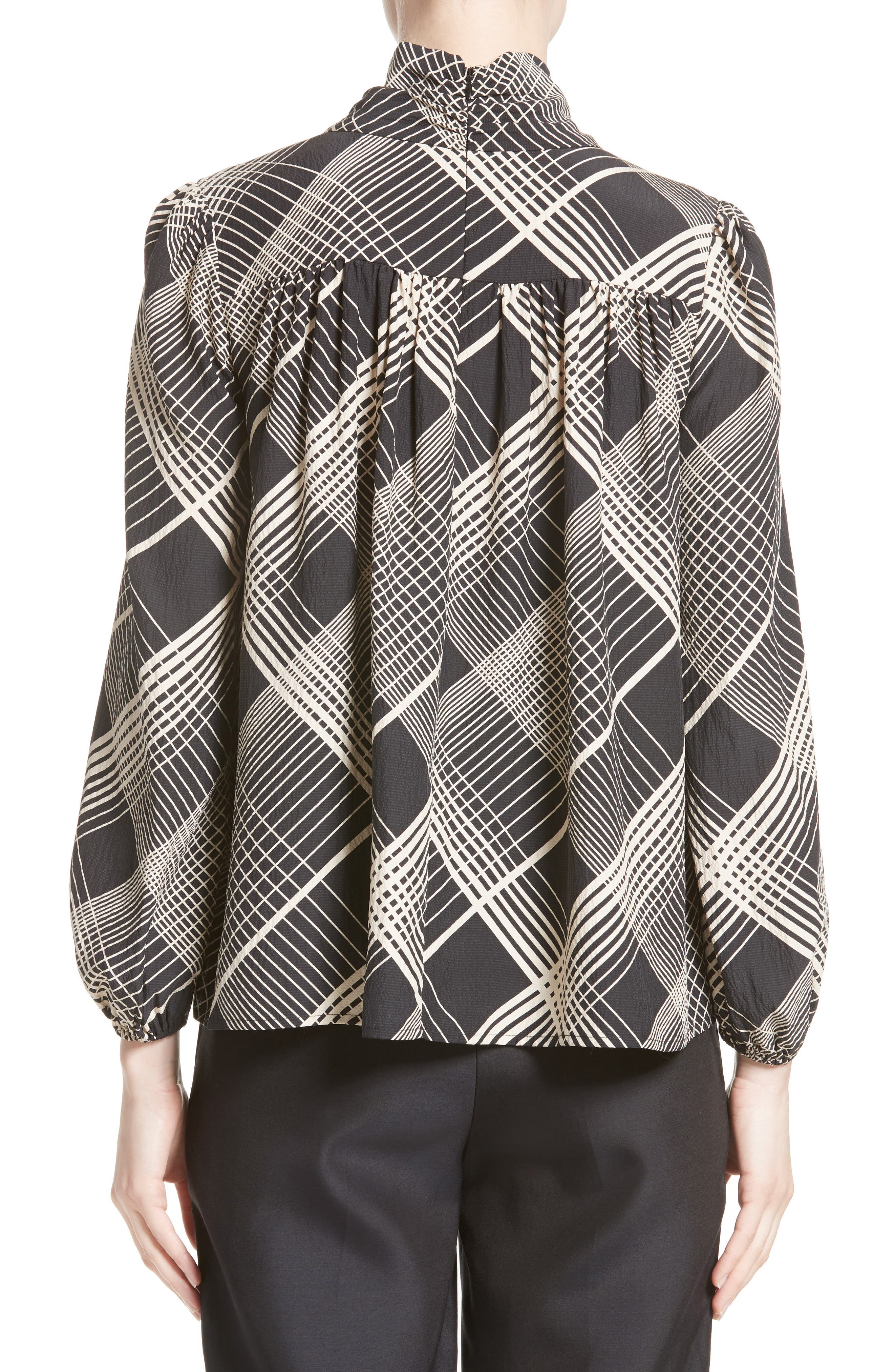 Plaid Silk Tie Neck Blouse,                             Alternate thumbnail 2, color,                             Black/ White Plaid