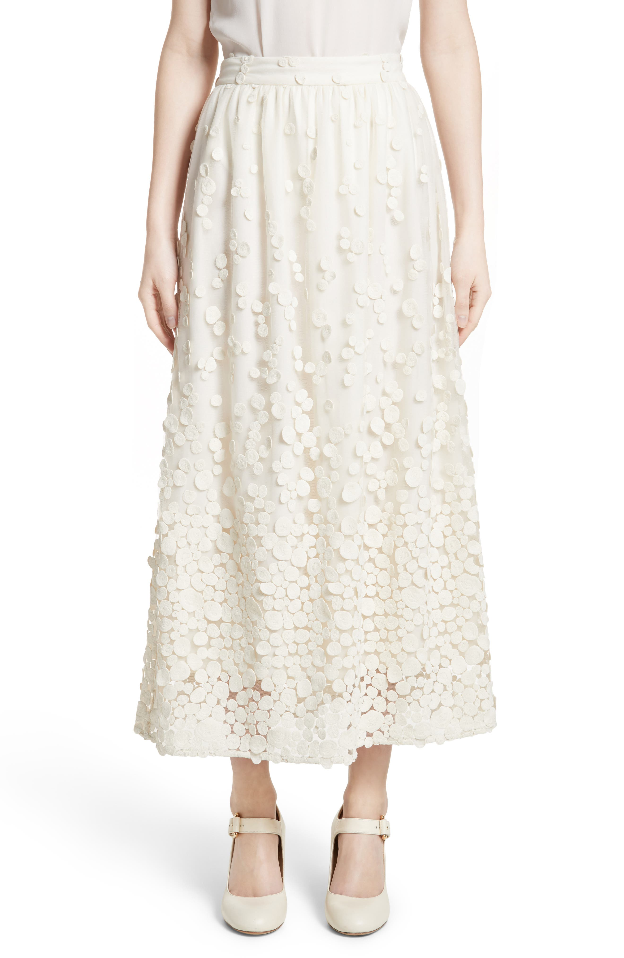 Pebbles Embroidered Mesh Midi Skirt,                             Main thumbnail 1, color,                             Ivory