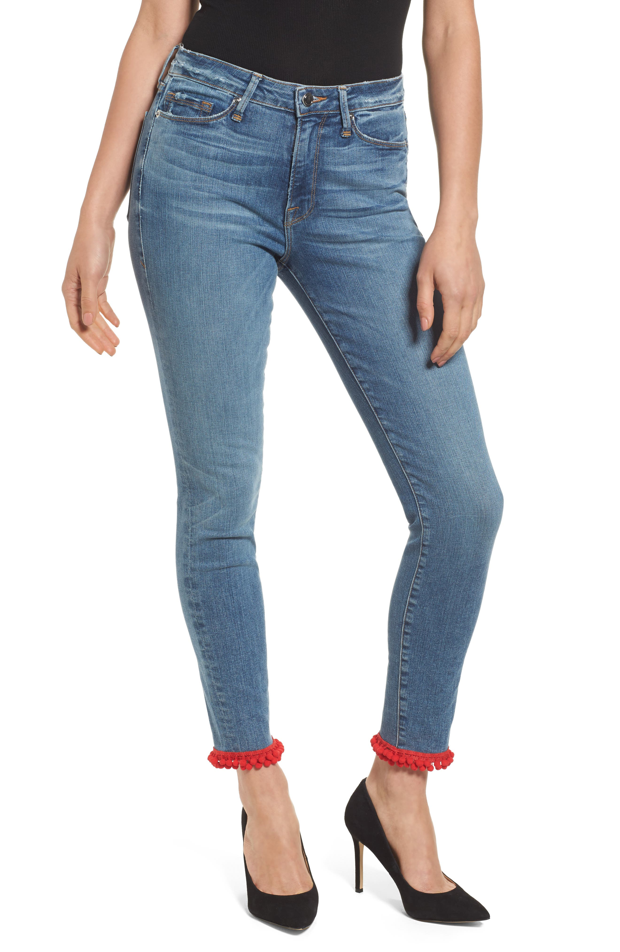 Good American Good Legs High Waist Pom Jeans (Blue 069) (Extended Sizes)