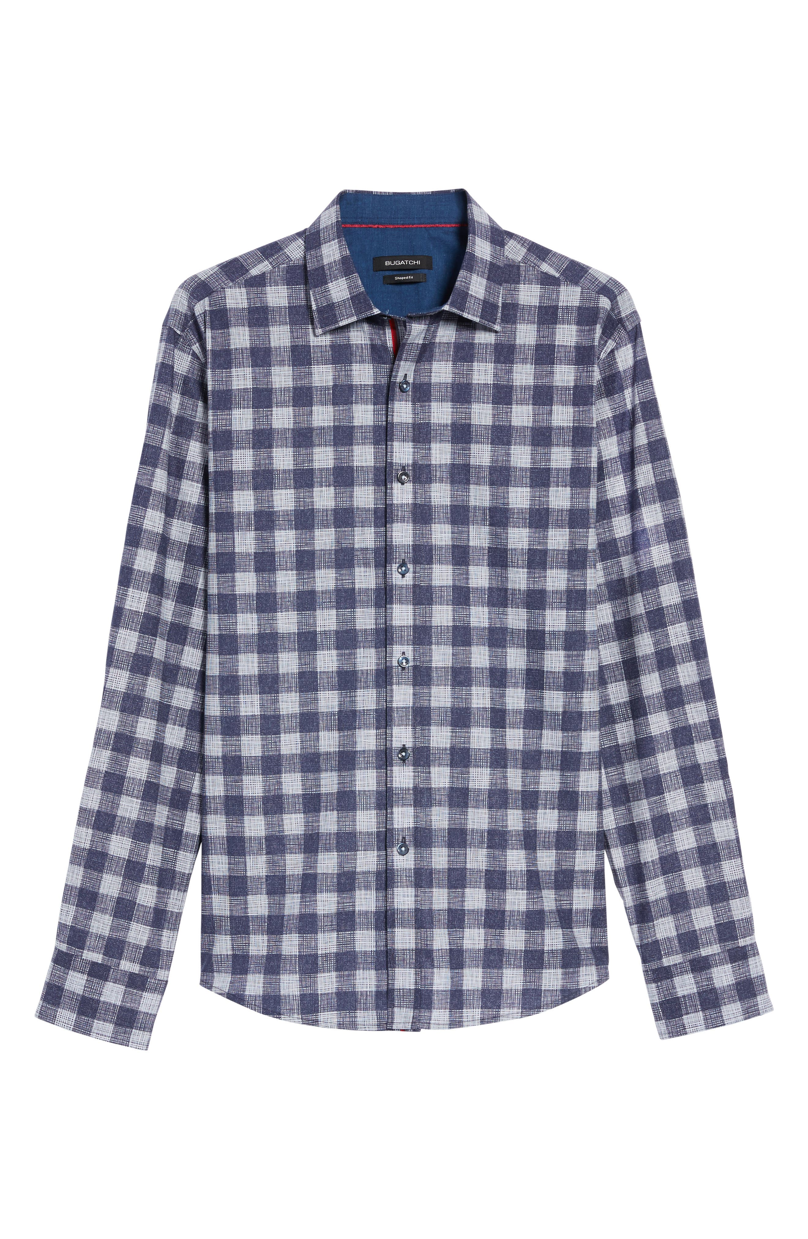 Shaped Fit Check Print Sport Shirt,                             Alternate thumbnail 6, color,                             Navy