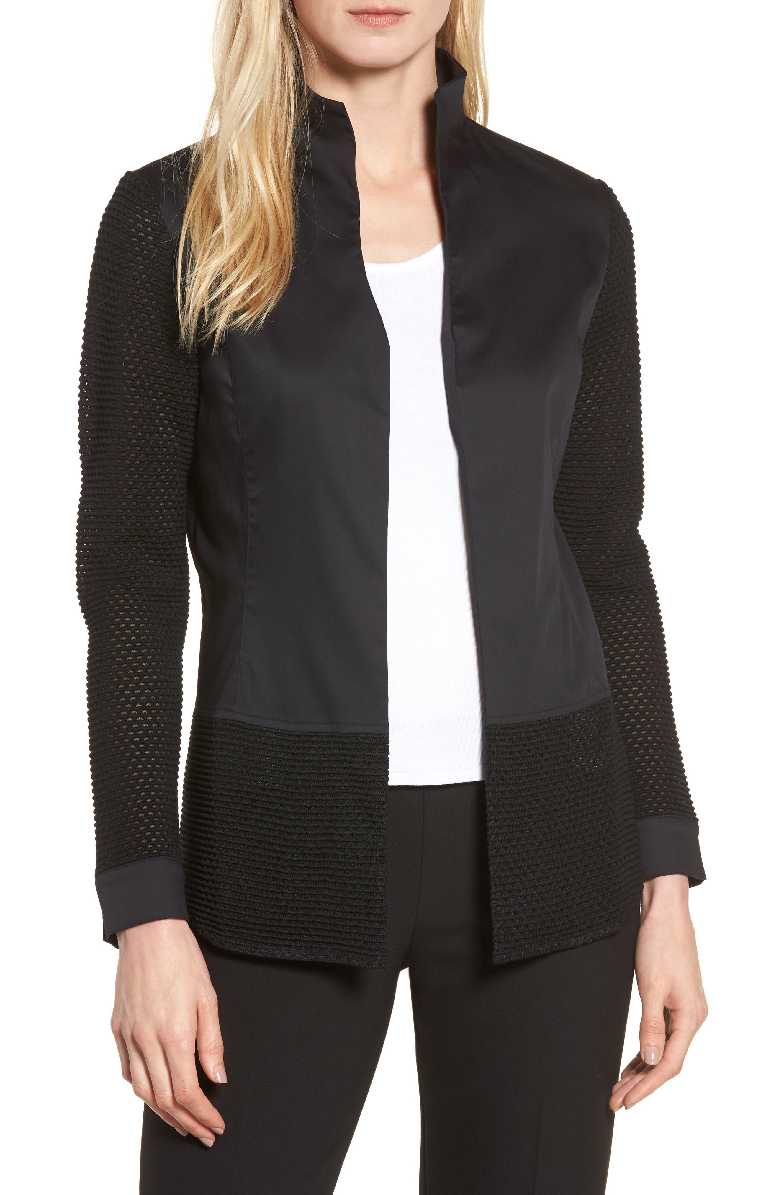 Woven & Knit Jacket,                             Main thumbnail 1, color,                             Black