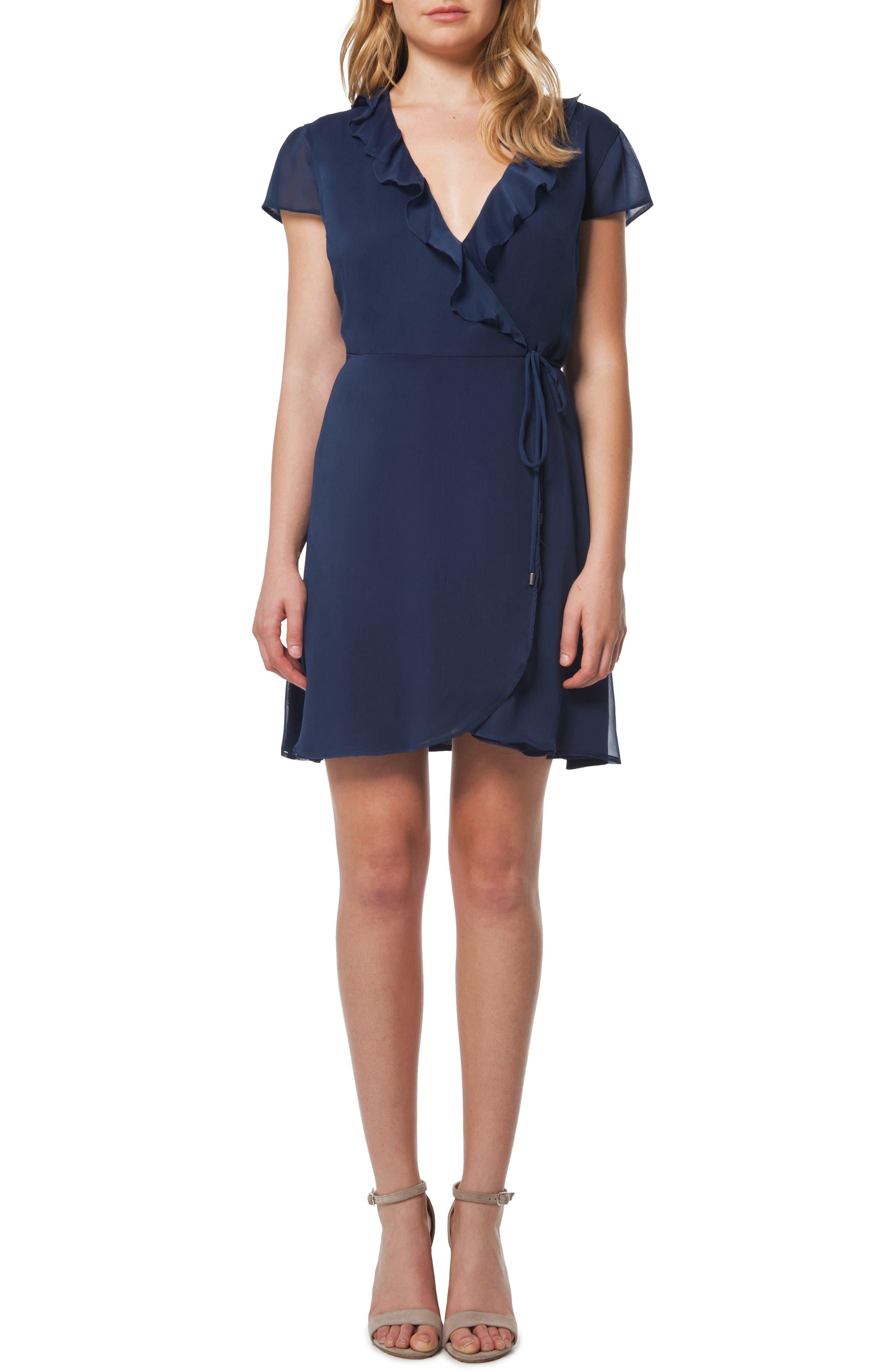 Ruffle Wrap Dress,                         Main,                         color, Denim
