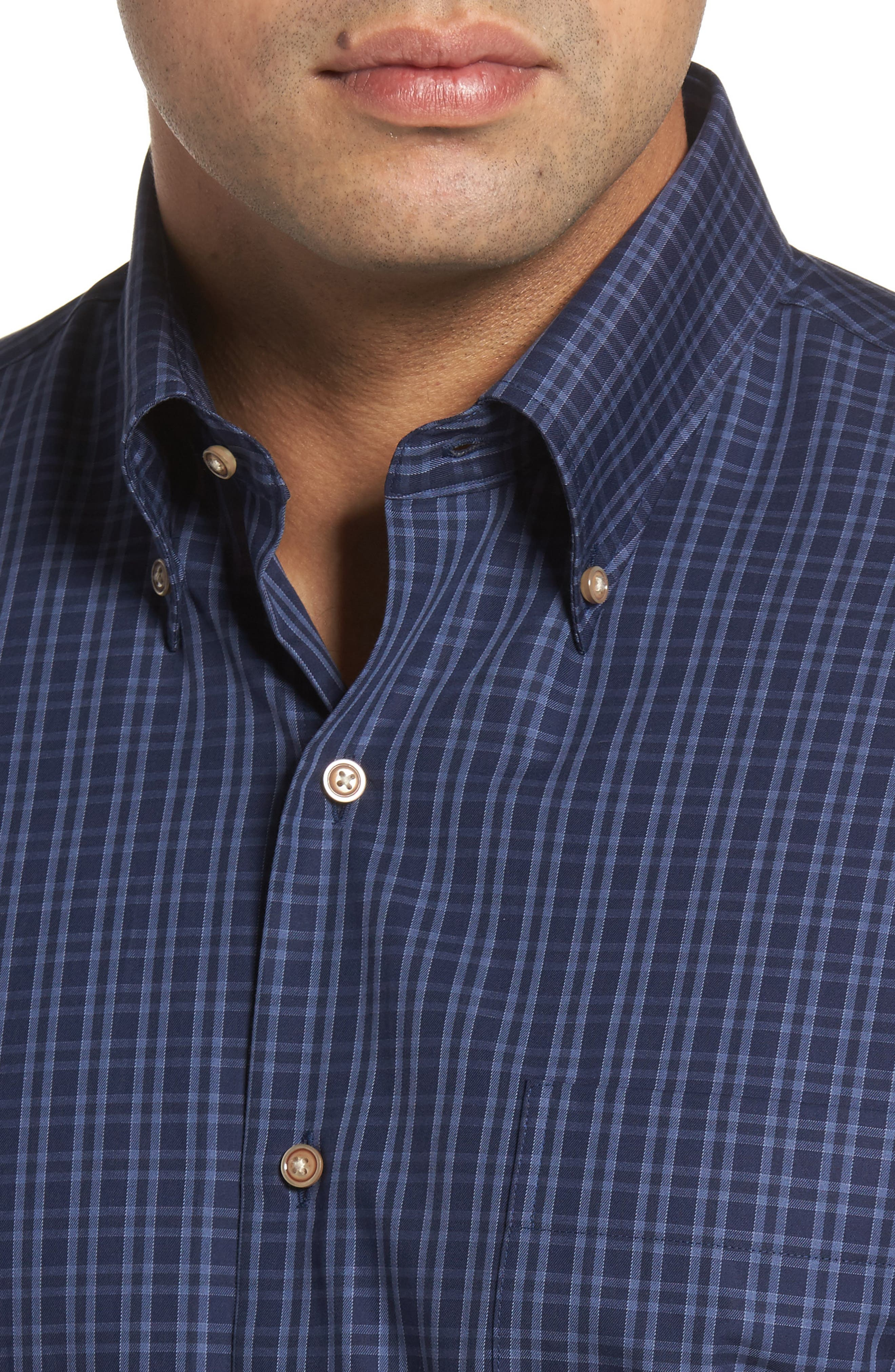 Autumn Check Regular Fit Sport Shirt,                             Alternate thumbnail 4, color,                             Seaboard Navy