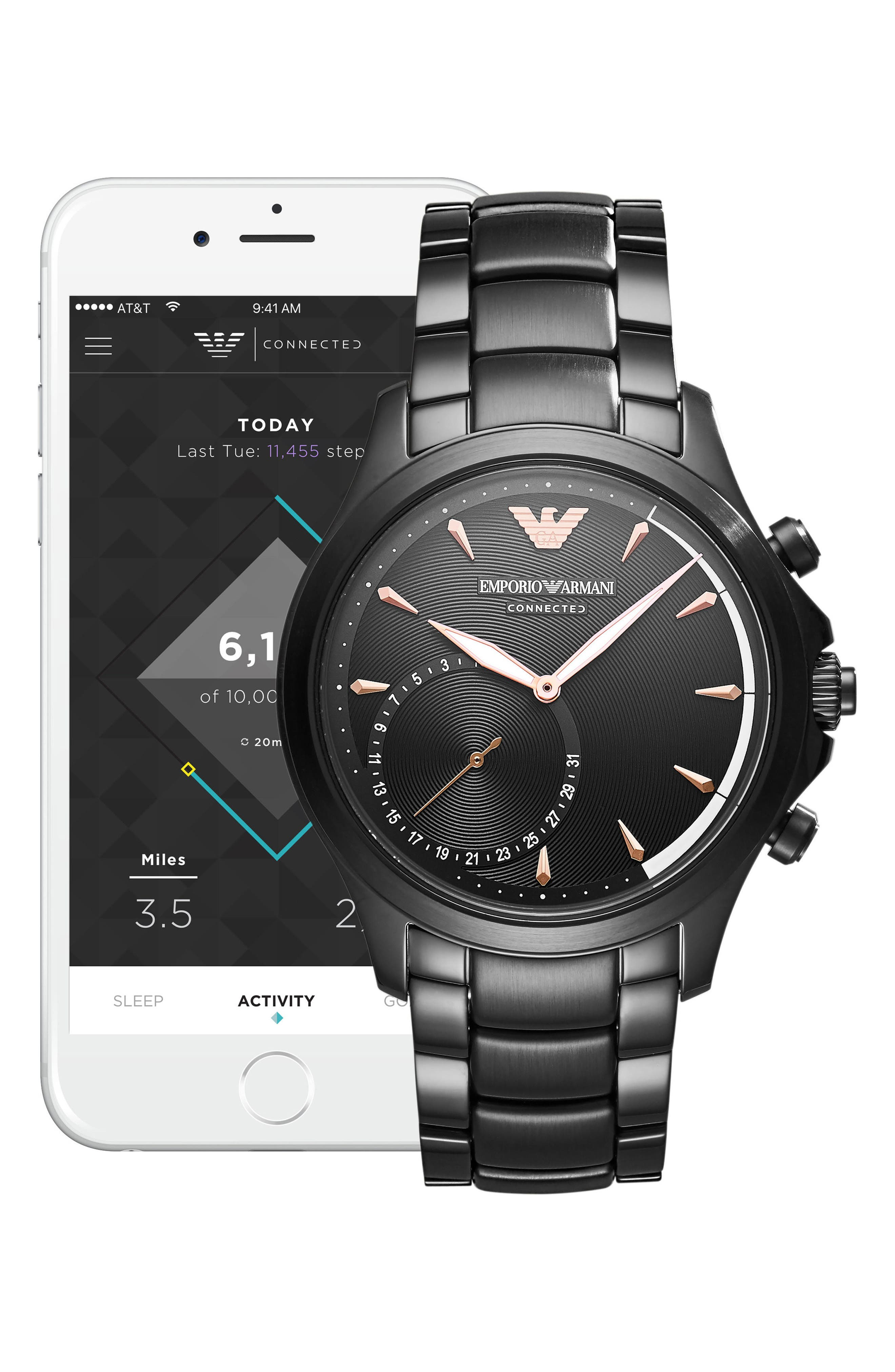 Alternate Image 4  - Emporio Armani Bracelet Hybrid Smartwatch, 43mm