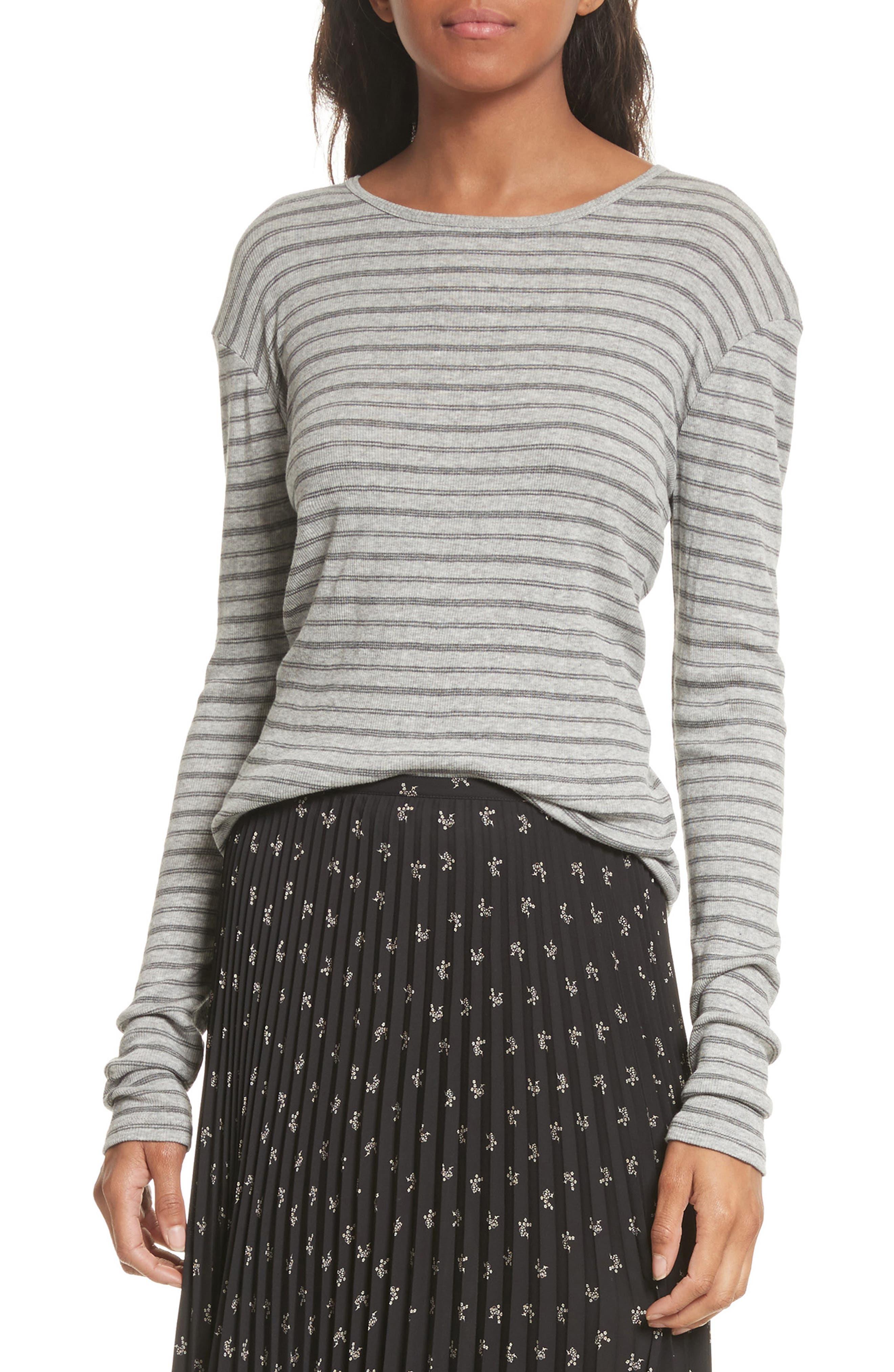 Double Stripe Top,                         Main,                         color, Heather Grey