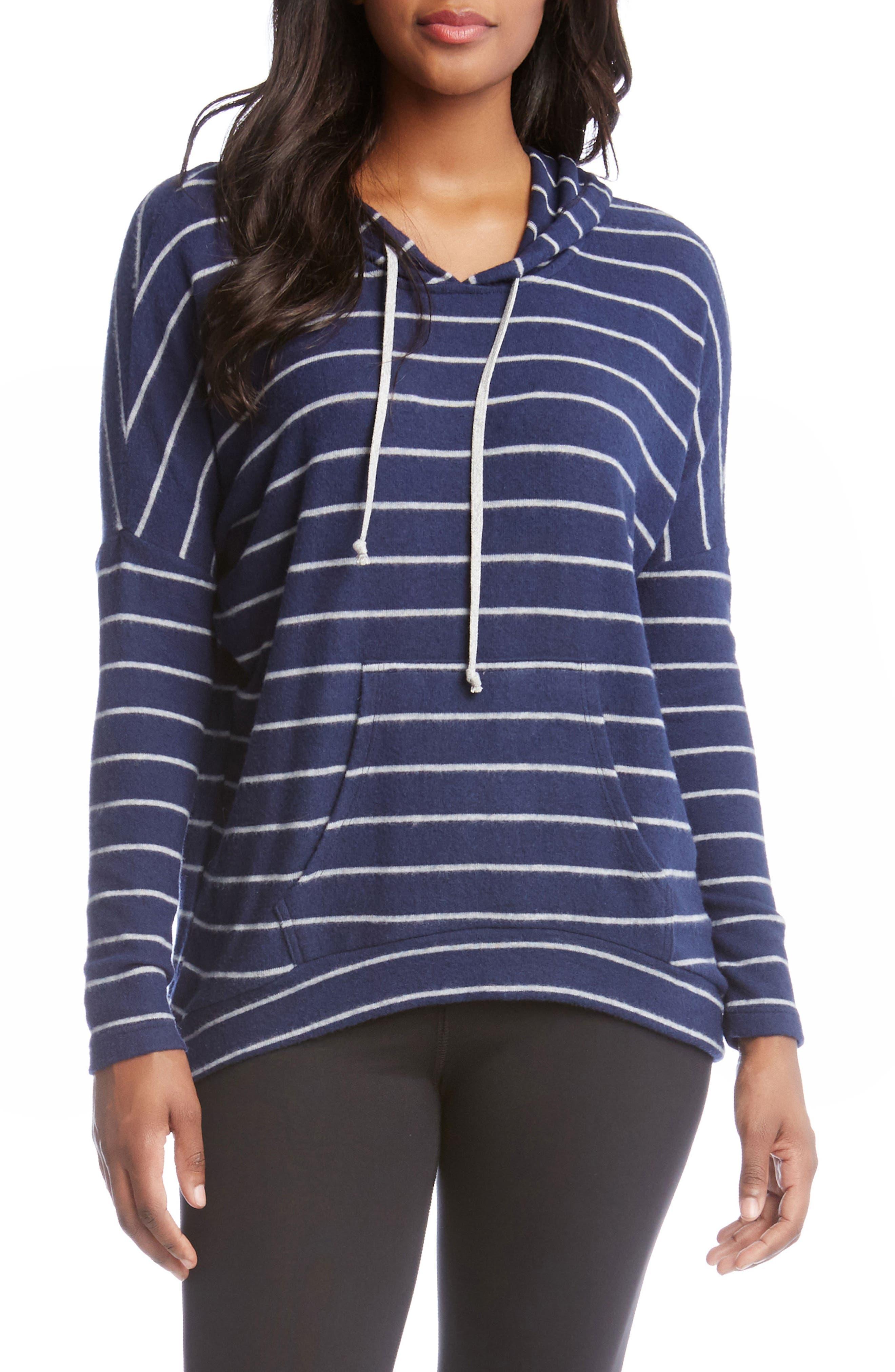 Stripe High/Low Hoodie,                         Main,                         color, Stripe