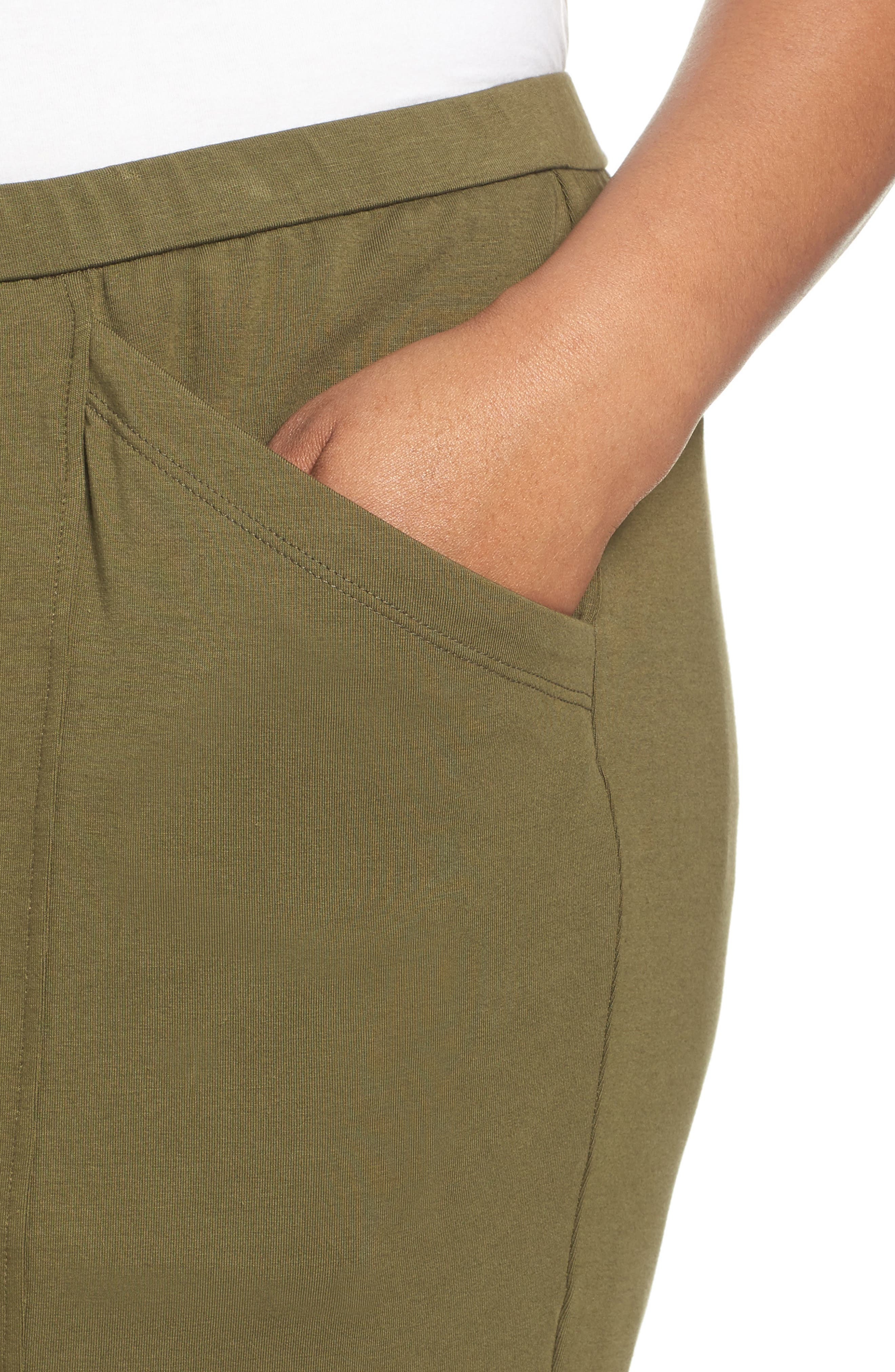 Alternate Image 4  - Eileen Fisher Stretch Organic Cotton Crop Pants (Plus Size)