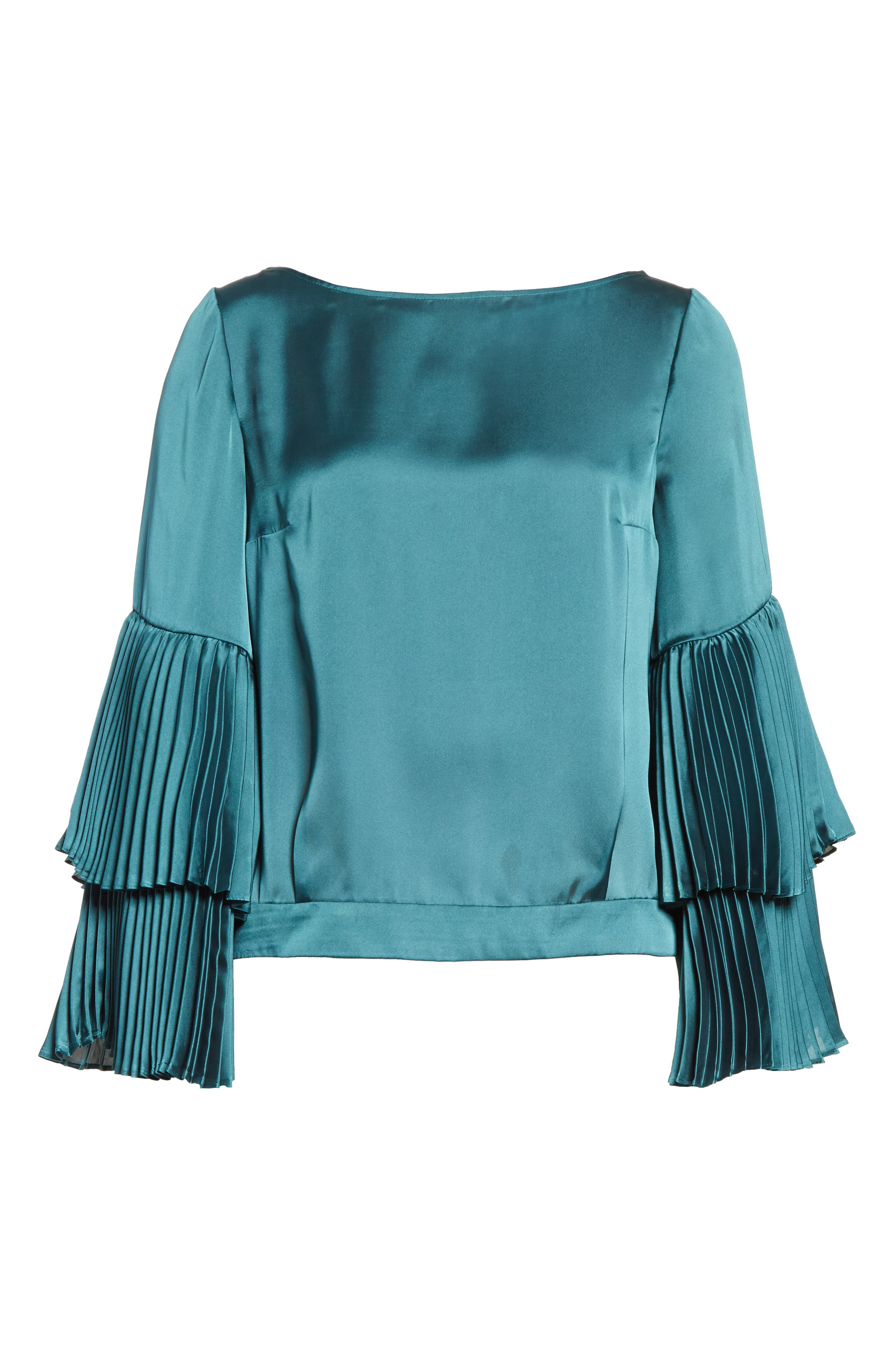 Pleated Bell Sleeve Boxy Blouse,                             Alternate thumbnail 6, color,                             Holly