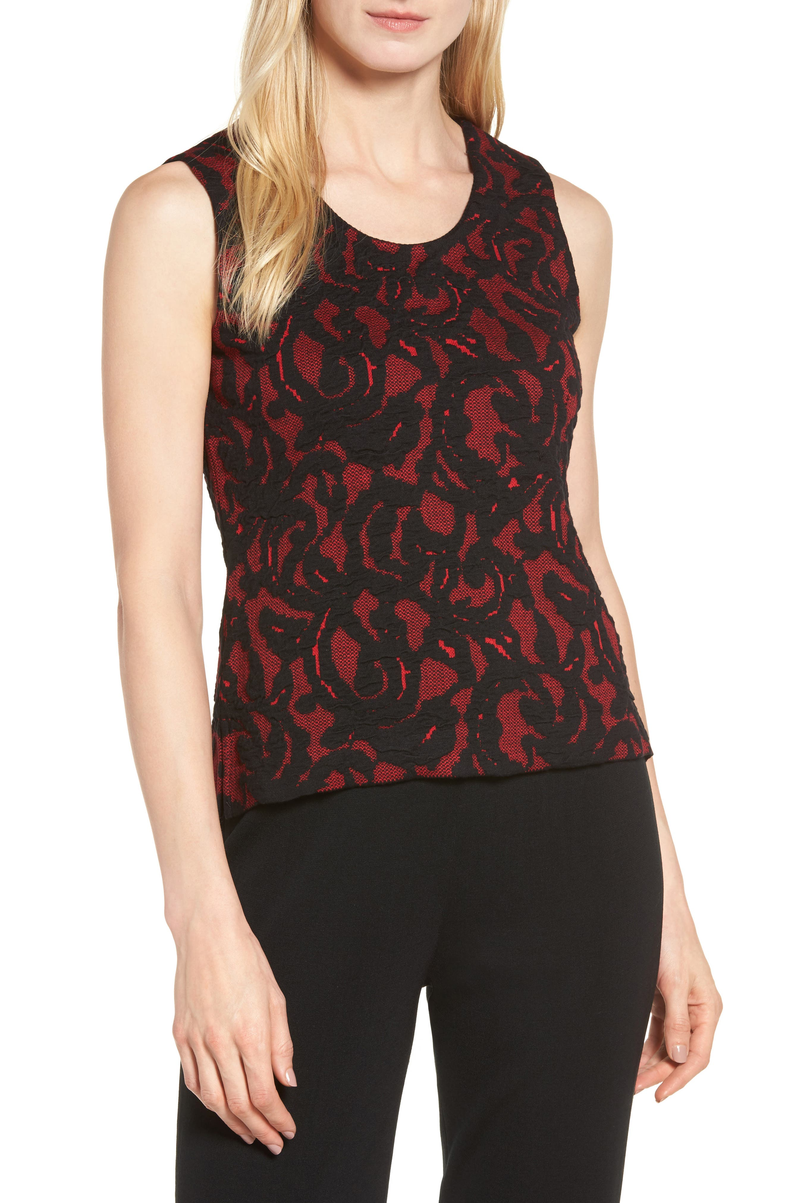 Lace Knit Tank,                         Main,                         color, Dusk Red/ Black