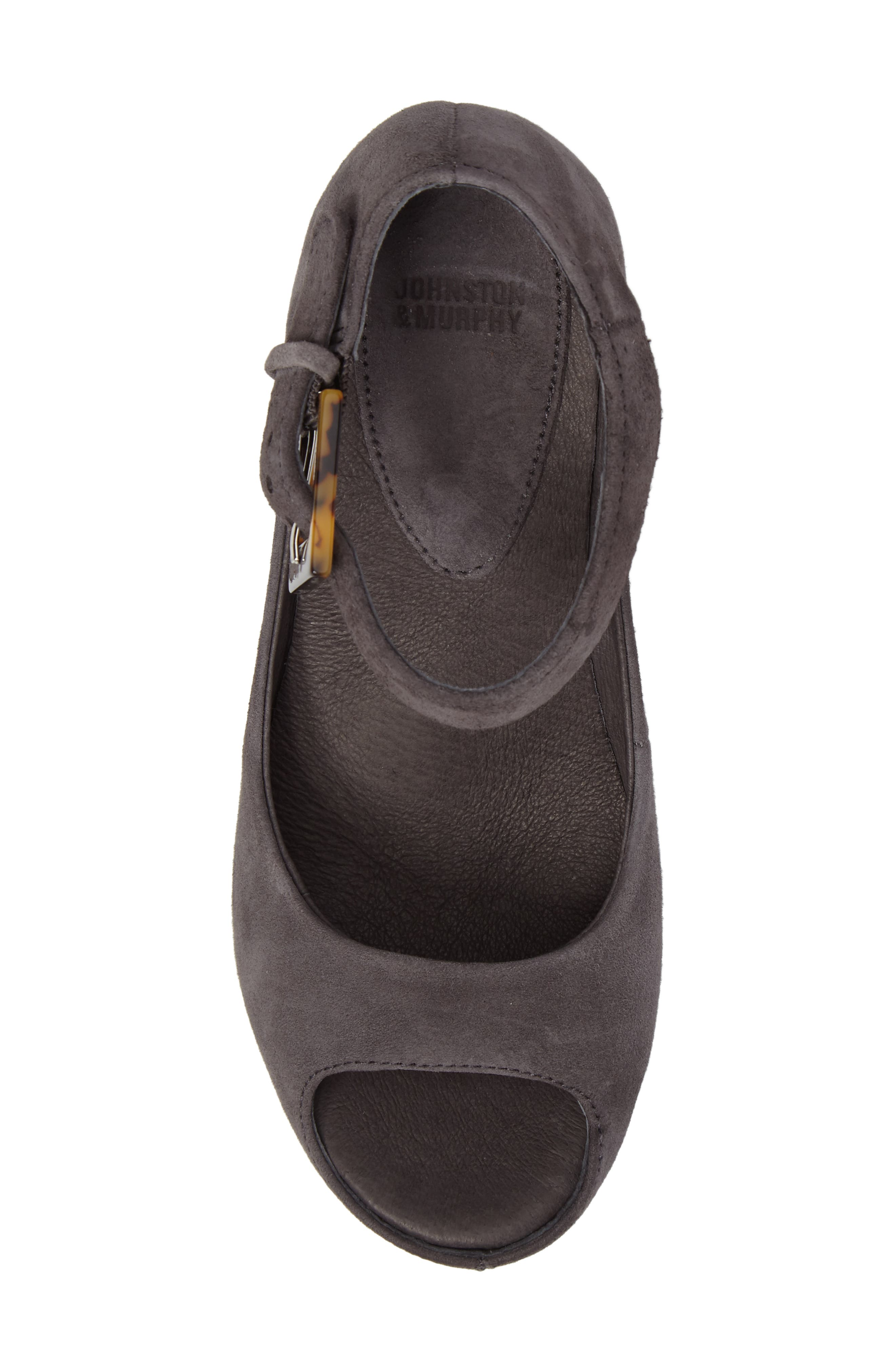 'Tricia' Ankle Strap Sandal,                             Alternate thumbnail 4, color,                             Gray Suede