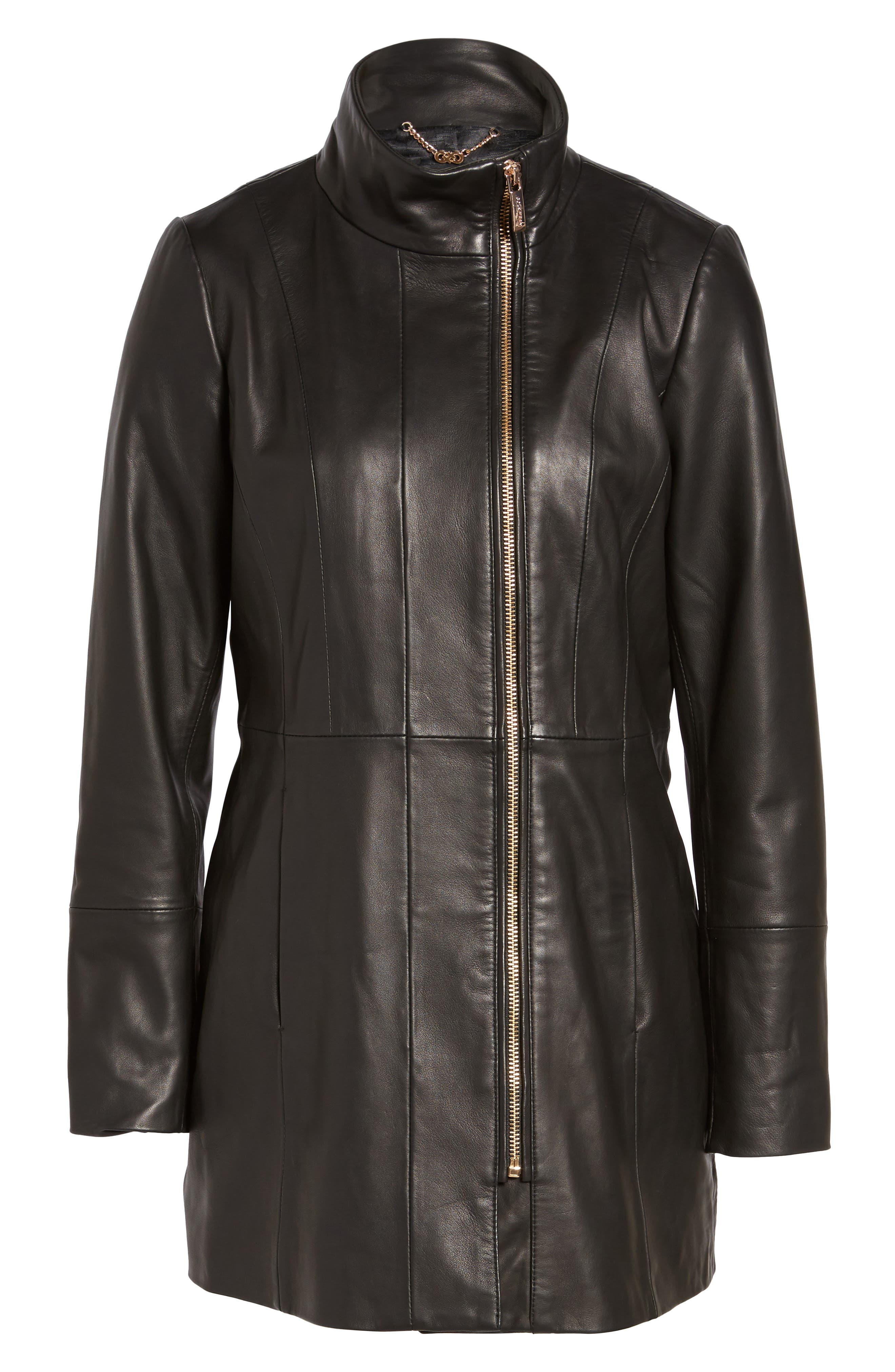 Leather Car Coat,                             Alternate thumbnail 6, color,                             Black