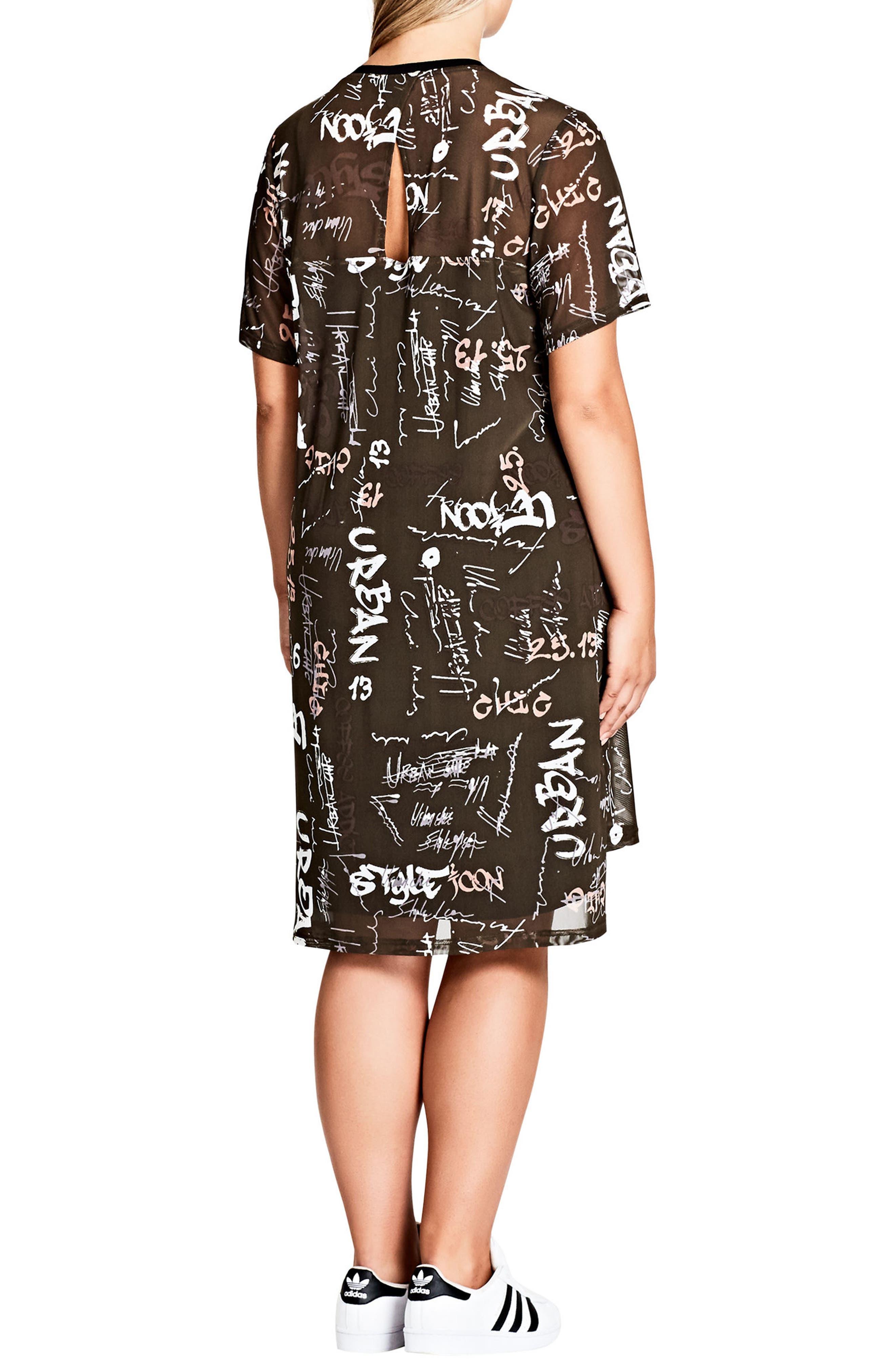 Alternate Image 2  - City Chic Graffiti Print Shift Dress (Plus Size)