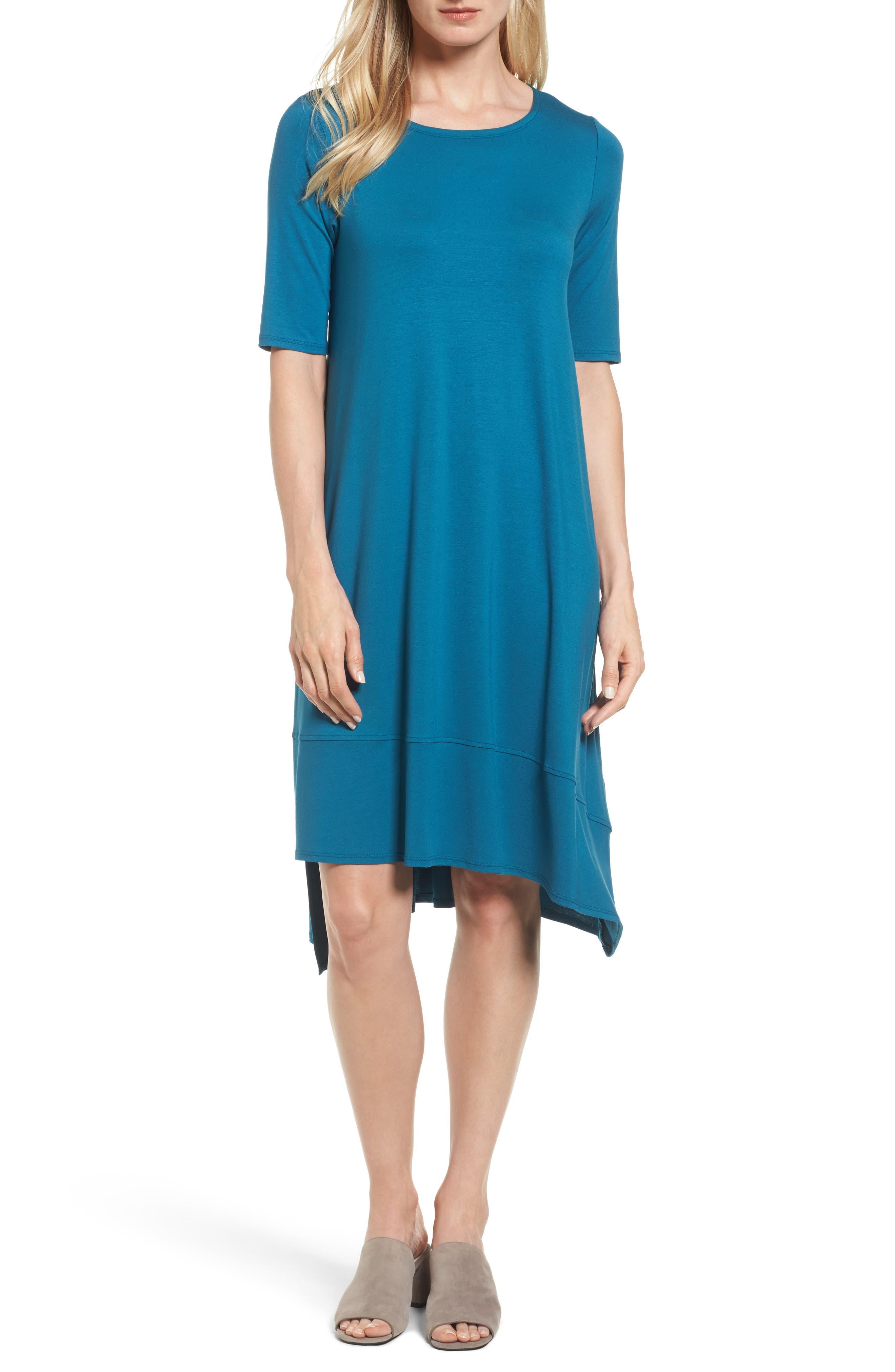Jersey Asymmetrical A-Line Dress,                             Main thumbnail 1, color,                             Nile