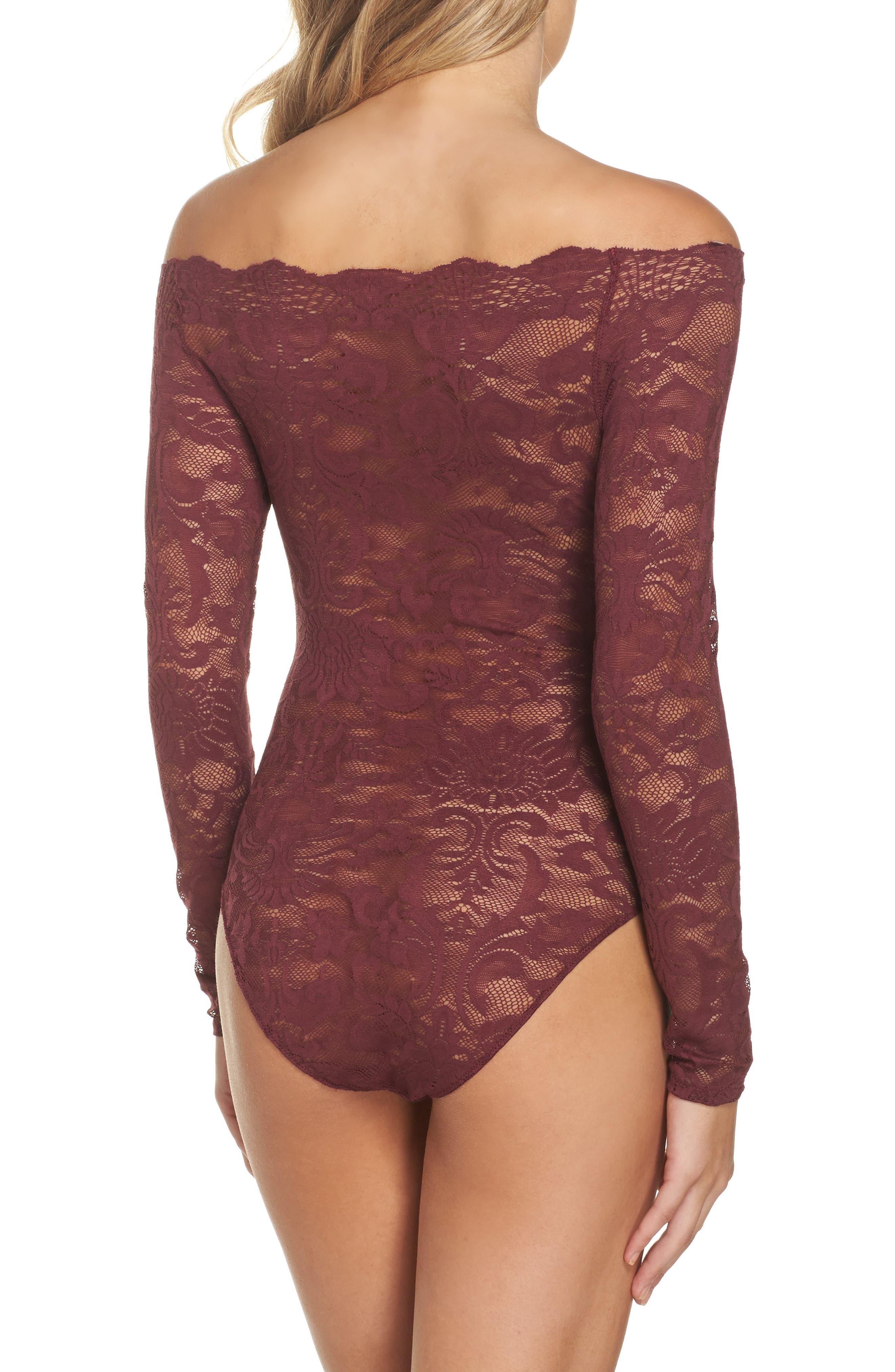 Eliza Off the Shoulder Lace Bodysuit,                             Alternate thumbnail 2, color,                             Tawny Port