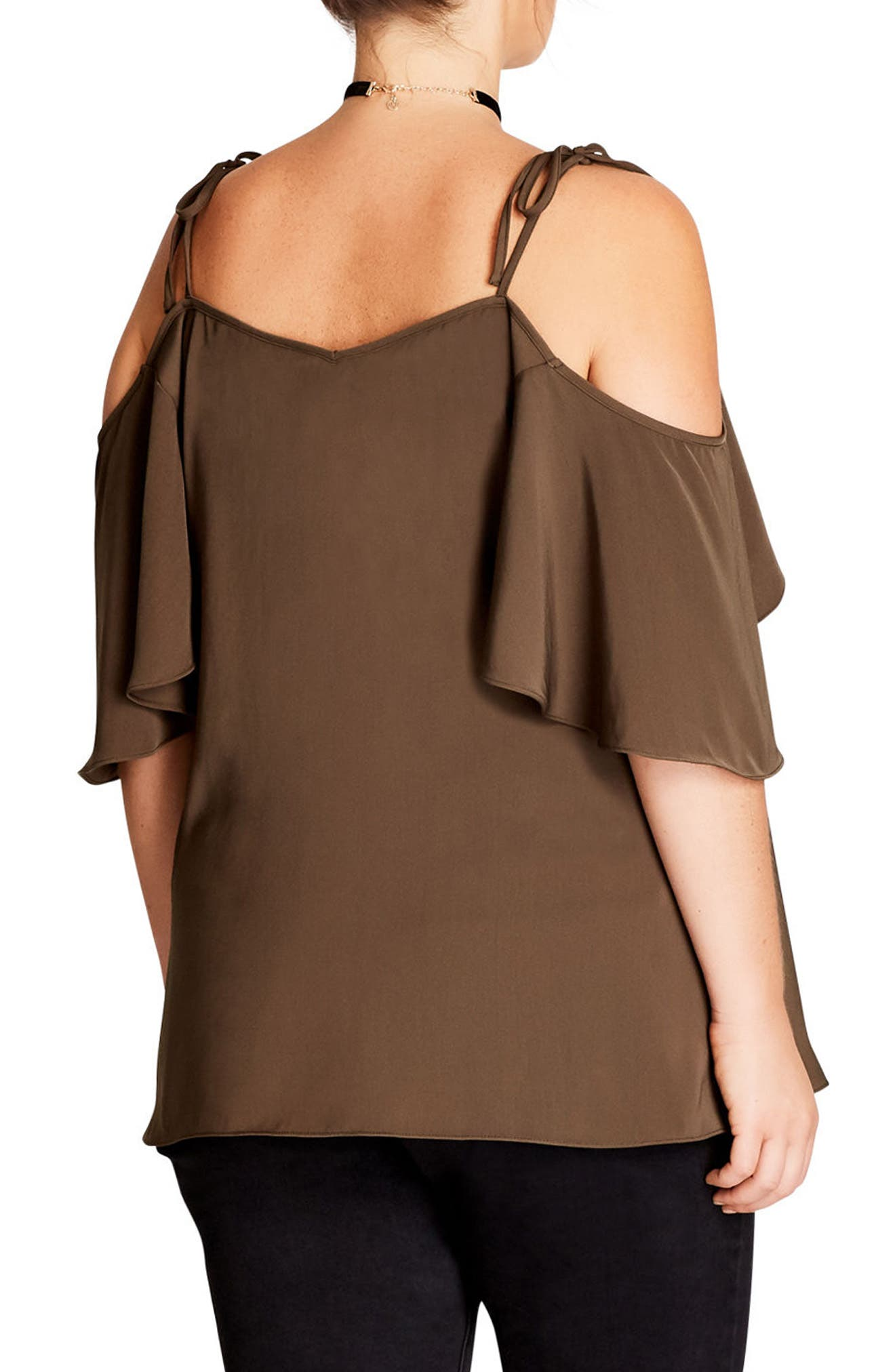 Cold Shoulder Blouse,                             Alternate thumbnail 2, color,                             Khaki