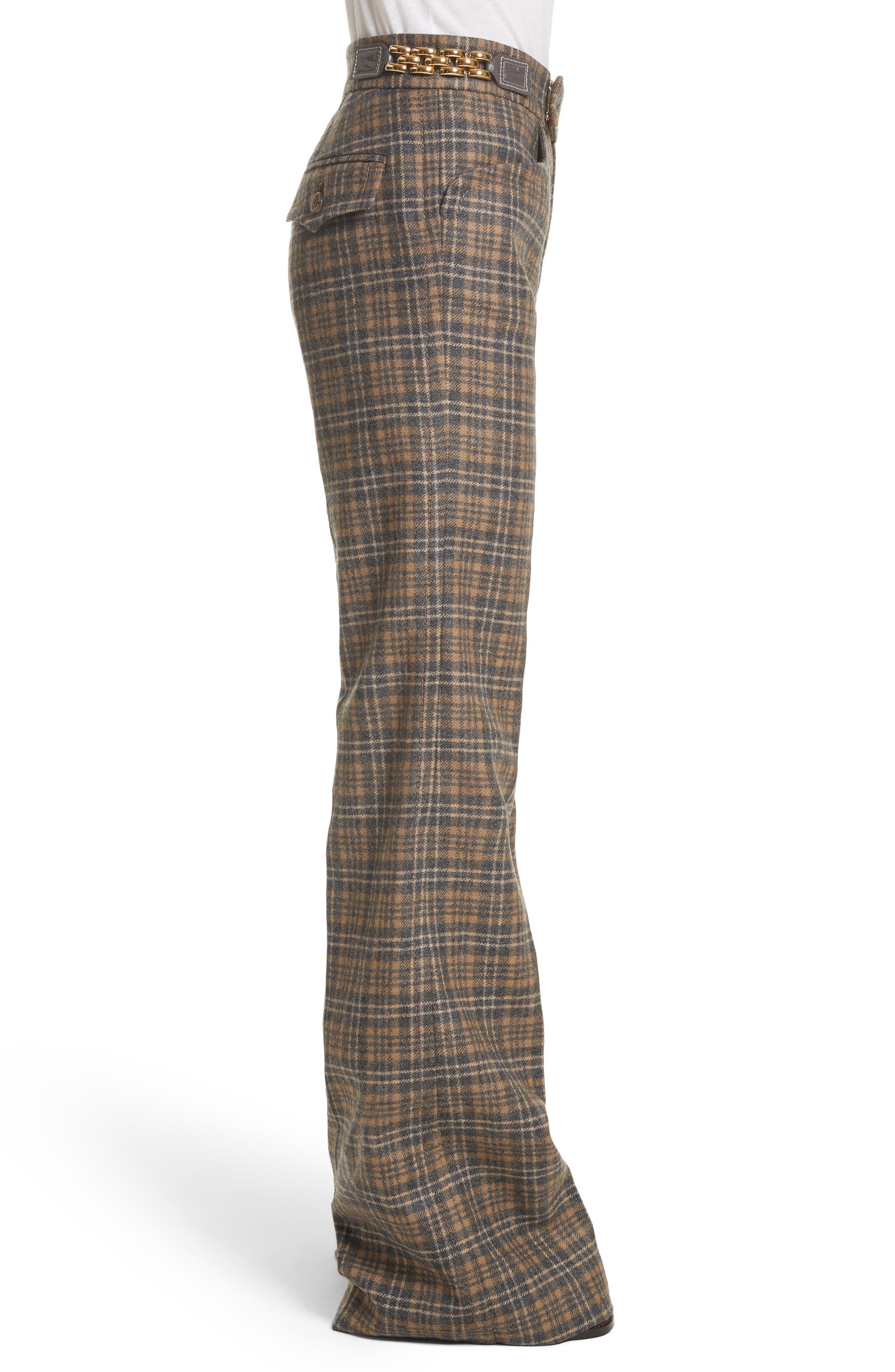 Plaid Wool Blend Wide Leg Pants,                             Alternate thumbnail 3, color,                             Camel Multi