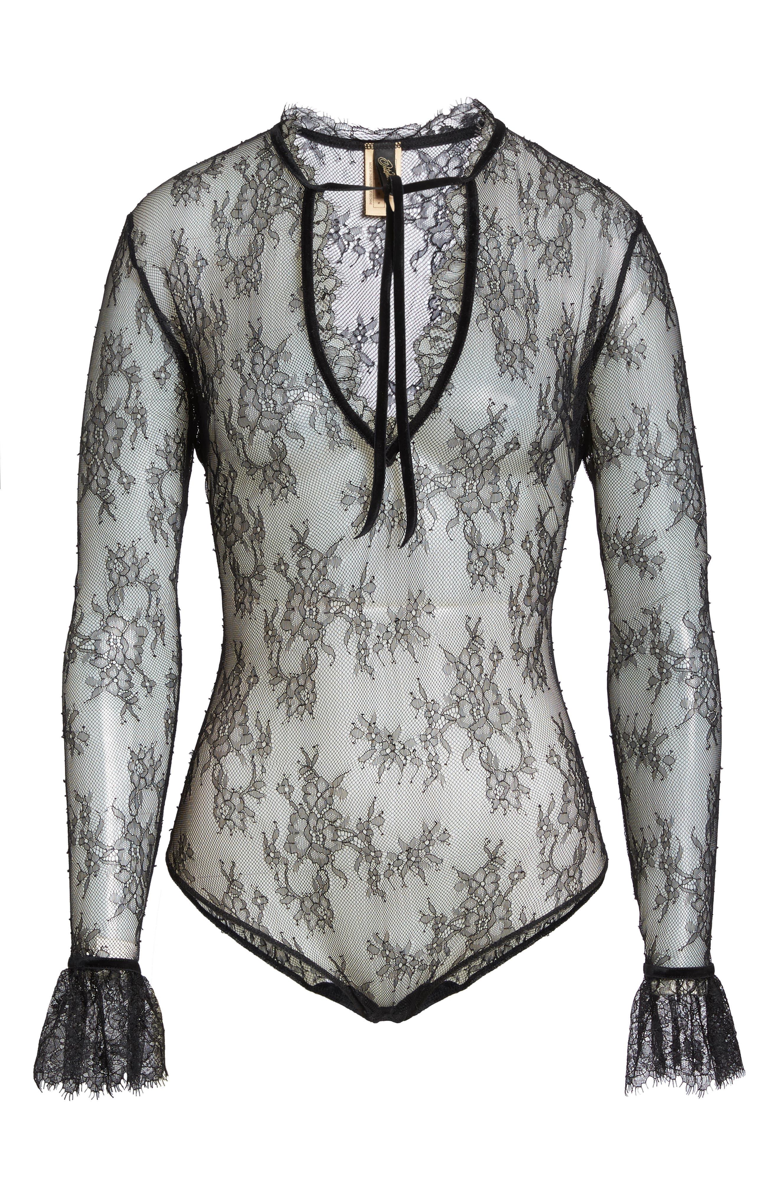 Miss West Lace Bodysuit,                             Alternate thumbnail 4, color,                             Black