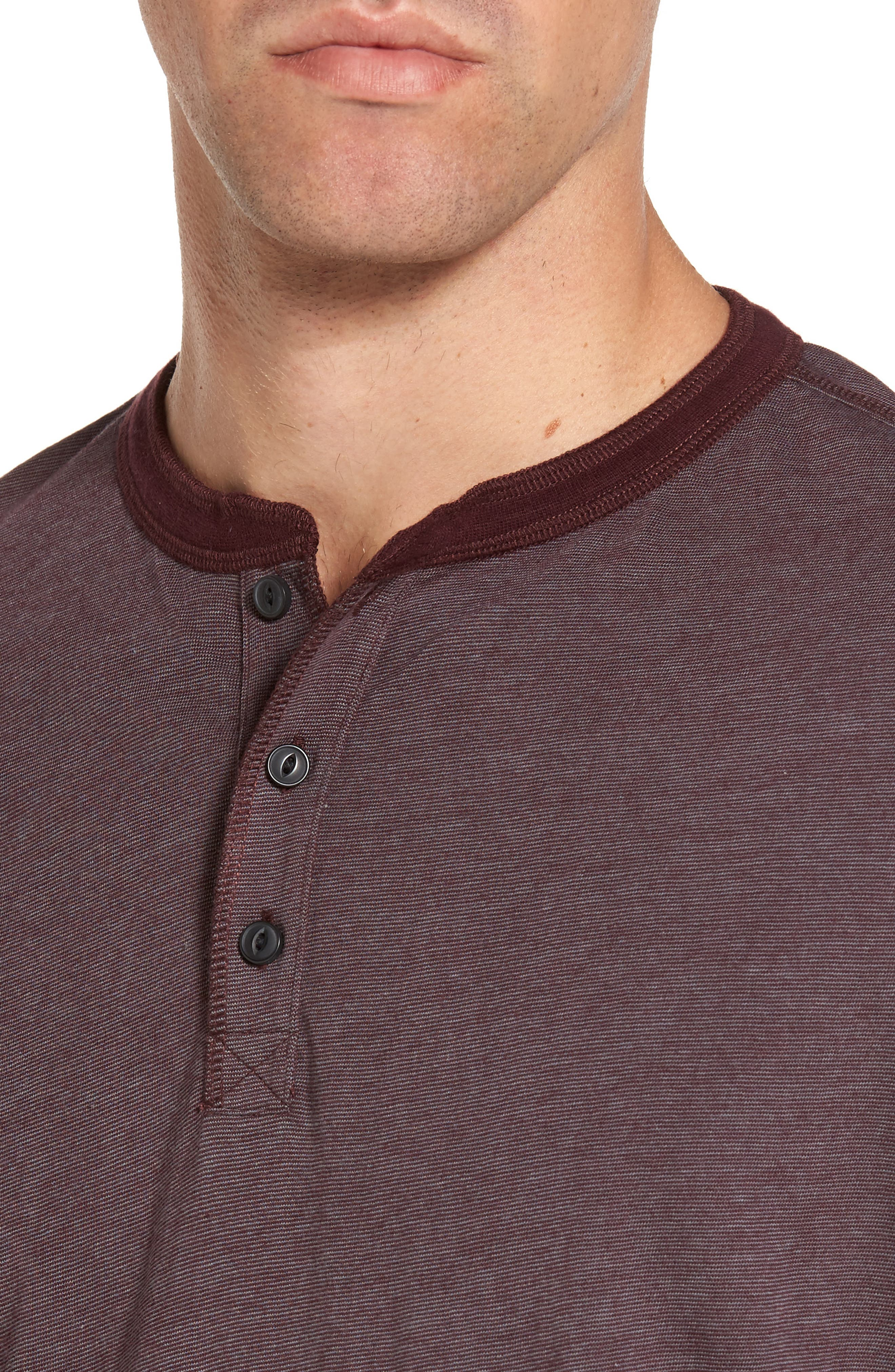 Stripe Henley,                             Alternate thumbnail 4, color,                             Burgundy Stem Eoe