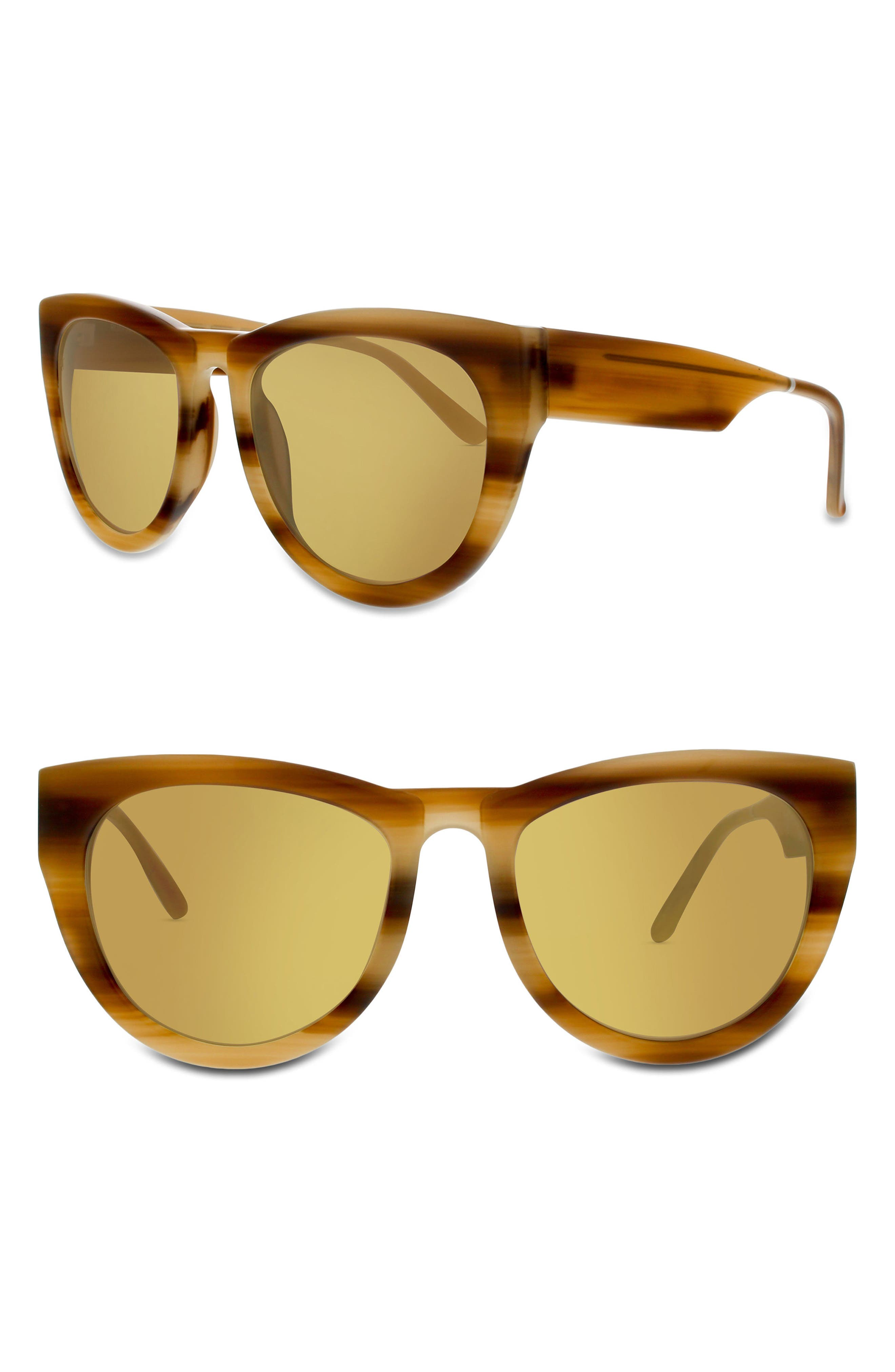 SMOKE X MIRRORS RUNAROUND SUE 60MM CAT EYE SUNGLASSES - MILKY TORTOISE/ GOLD MIRROR