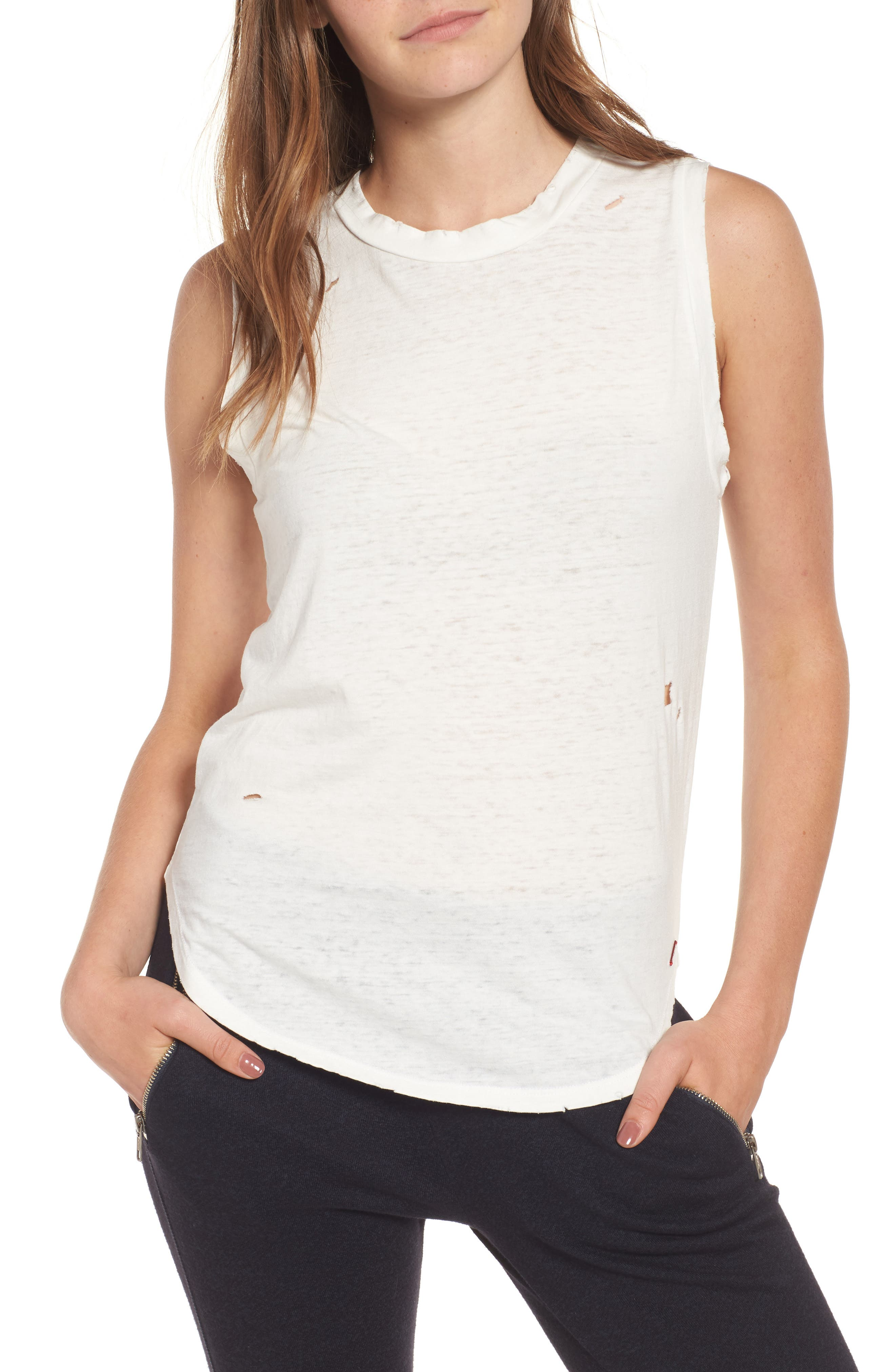 Corin Deconstructed Muscle Tank,                         Main,                         color, White