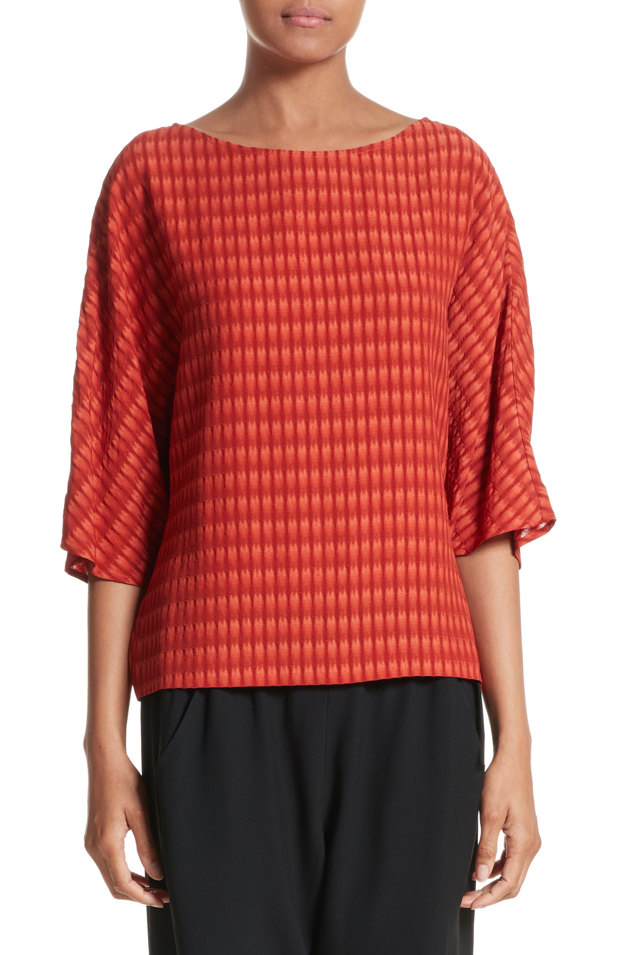 Vero Batik Plaid Top,                         Main,                         color, Saffron Red