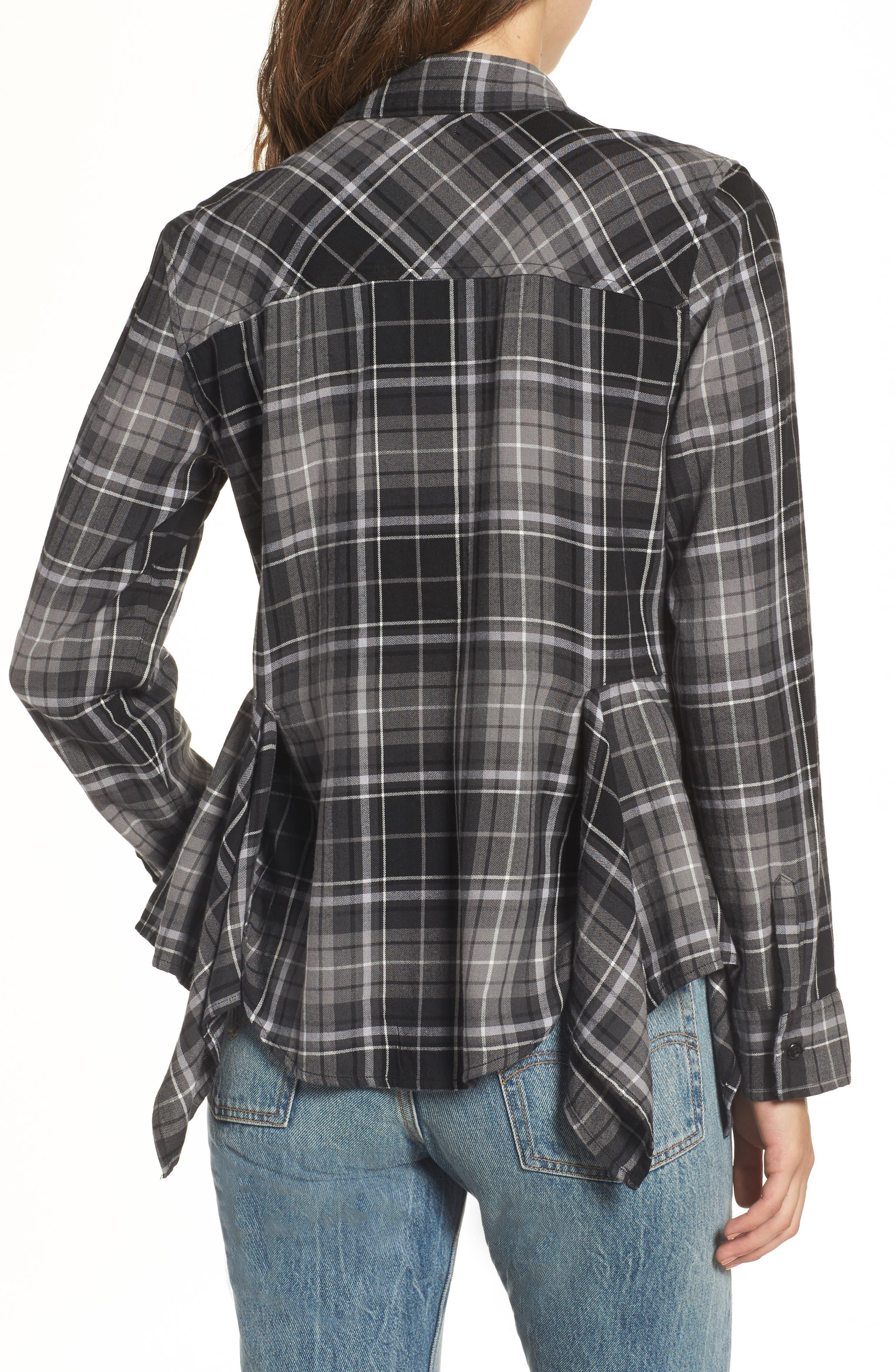 Plaid Godet Detail Shirt,                             Alternate thumbnail 2, color,                             Black Evie Plaid