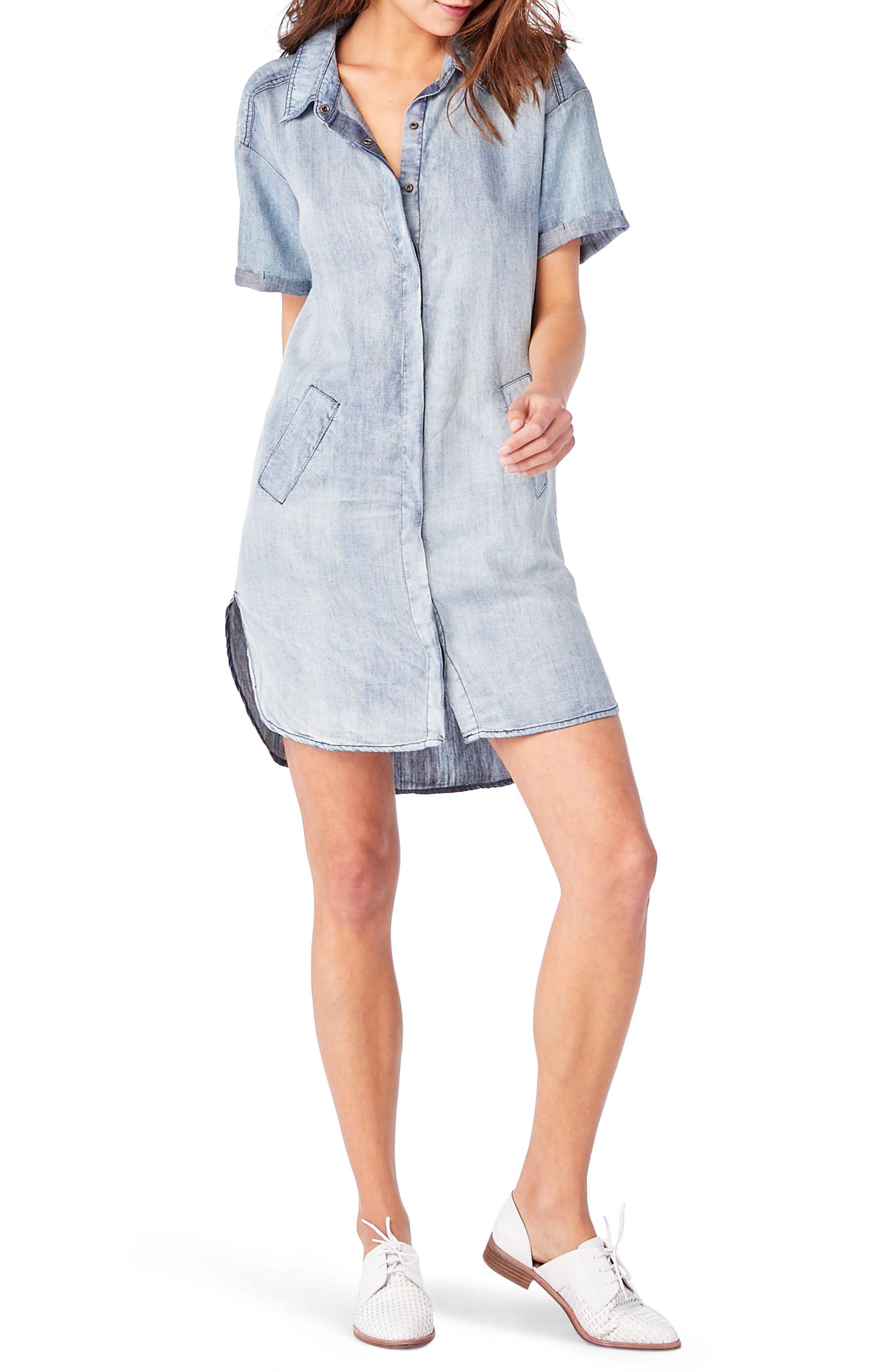 Chambray Shirtdress,                         Main,                         color, Vintage Wash