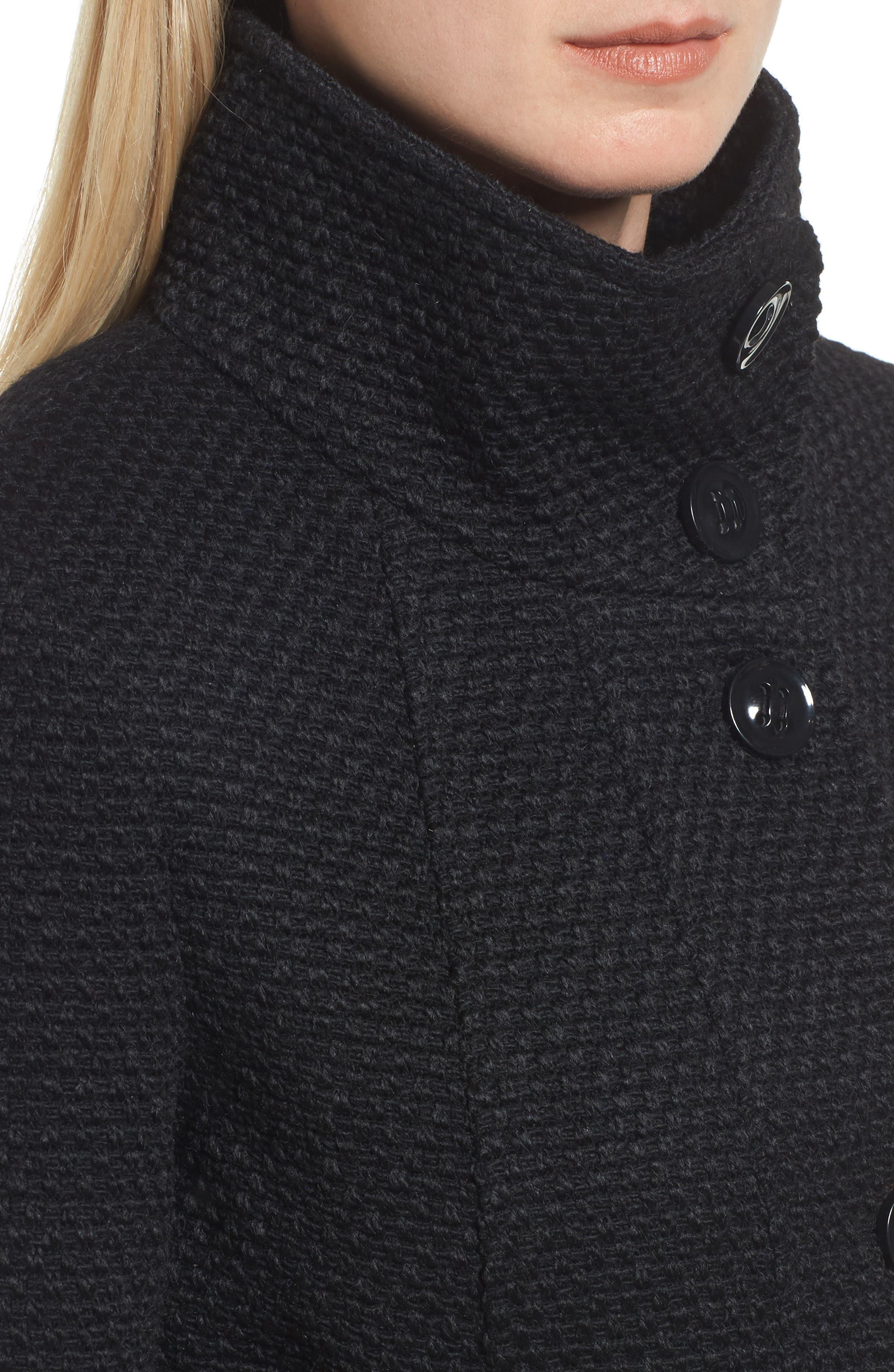 Waffle Woven Coat,                             Alternate thumbnail 4, color,                             Black