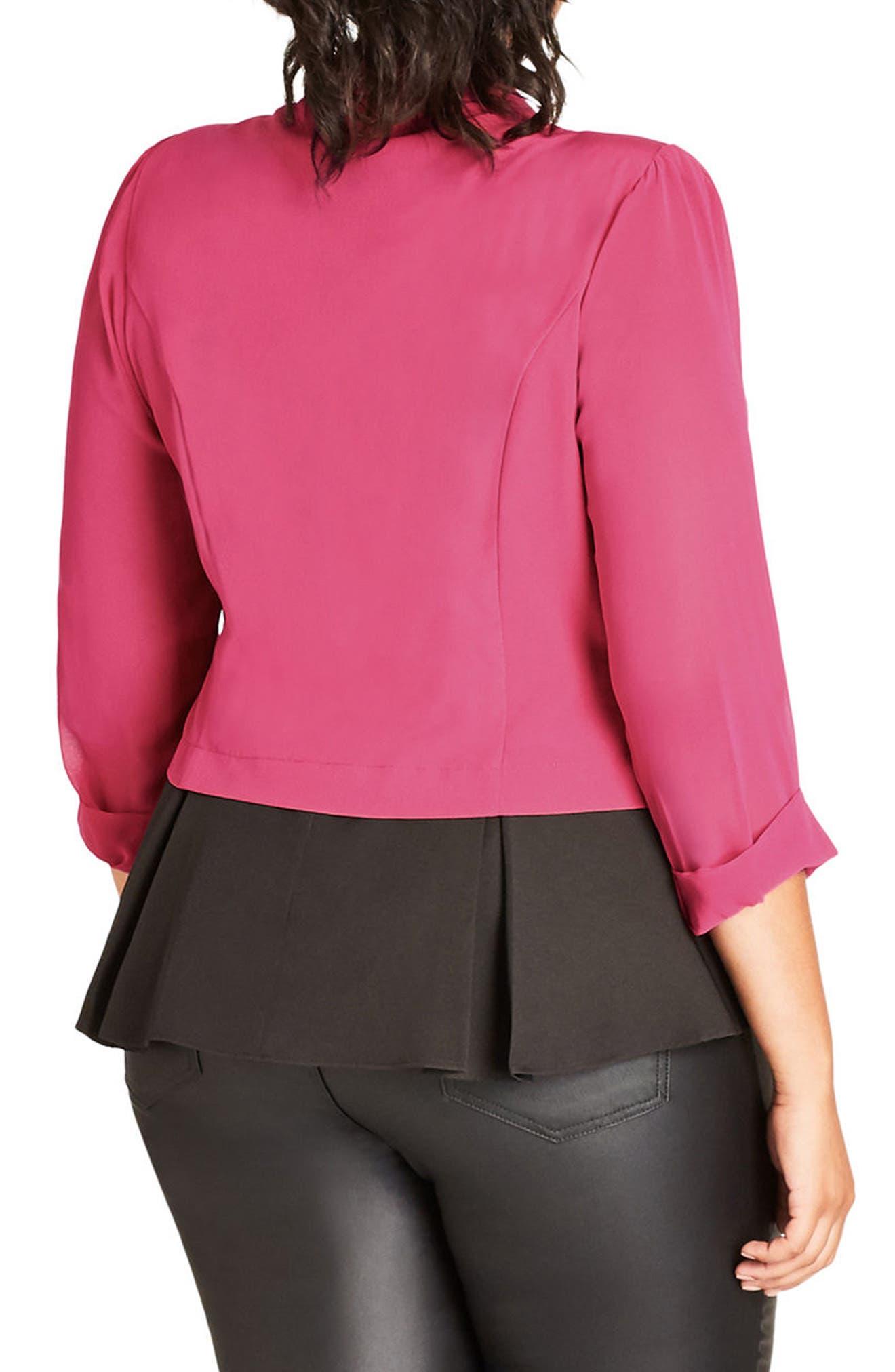 Alternate Image 2  - City Chic Sheer Sleeve Crop Blazer (Plus Size)