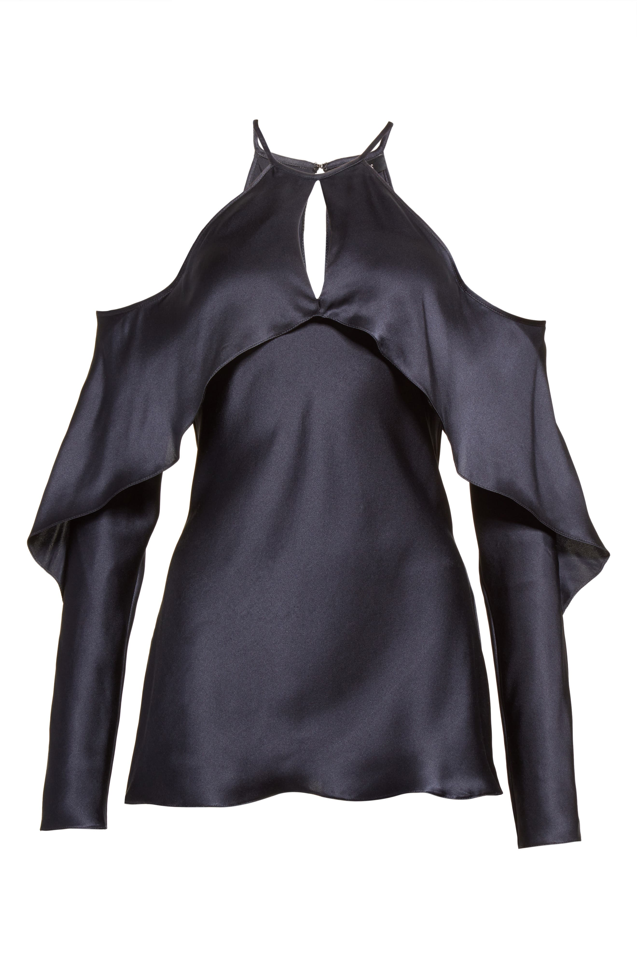 Florence Silk Charmeuse Cold Shoulder Top,                             Alternate thumbnail 6, color,                             Midnight