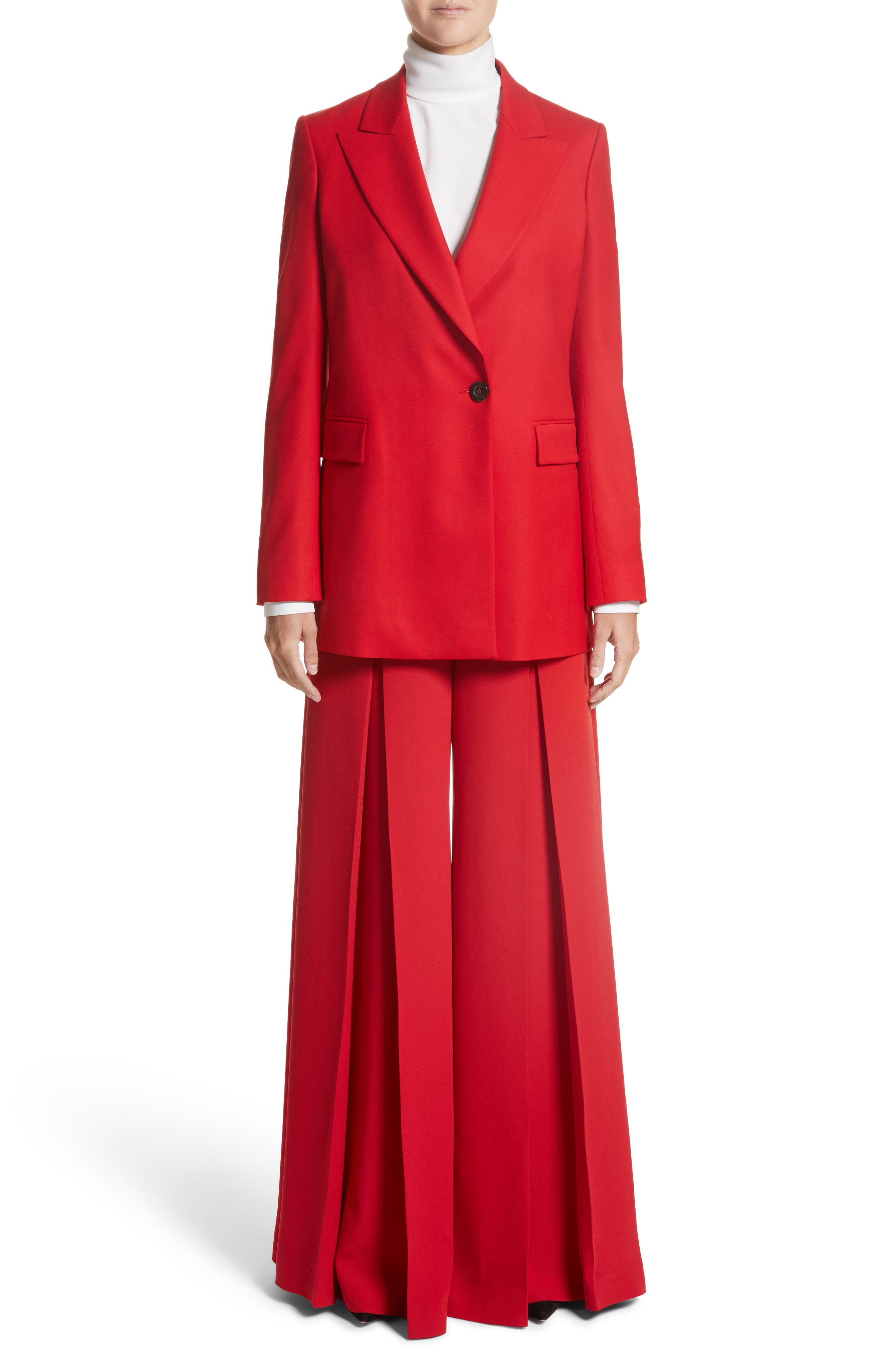 Stretch Wool Blazer,                             Alternate thumbnail 9, color,                             Red