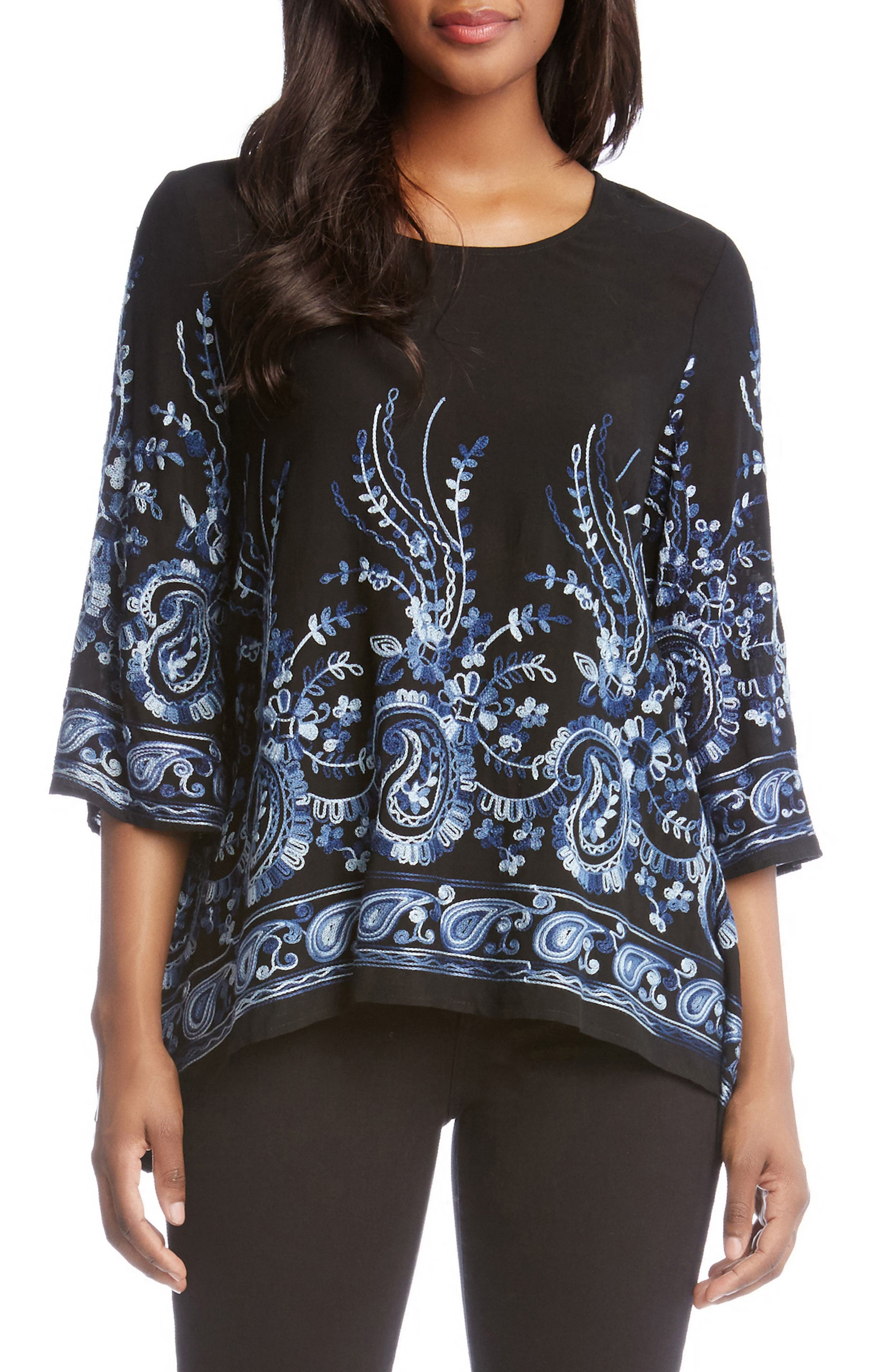 Paisley Embroidery Top,                         Main,                         color, Blue