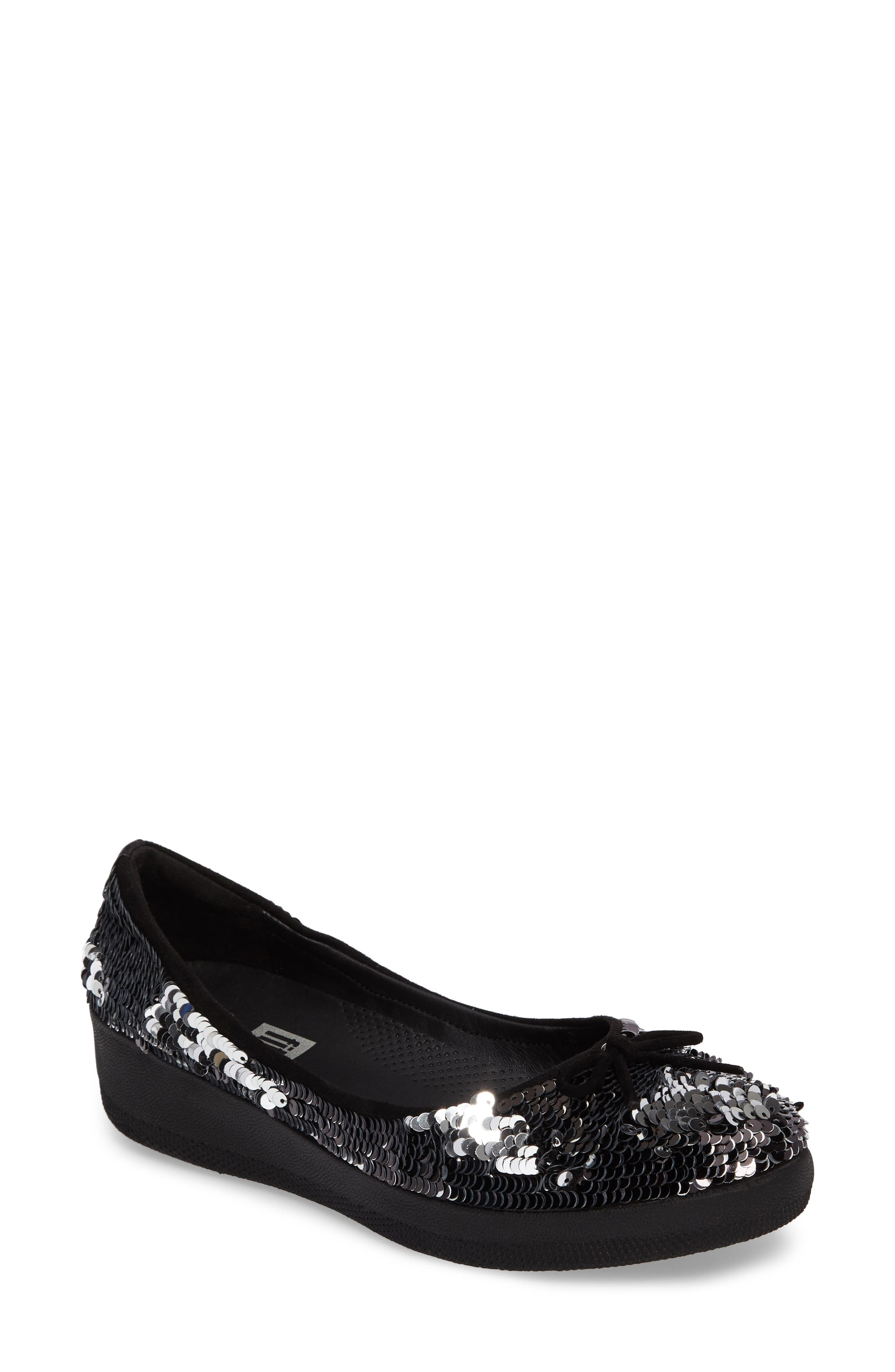 Superballerina Sequin Ballet Flat,                             Main thumbnail 1, color,                             Black Fabric