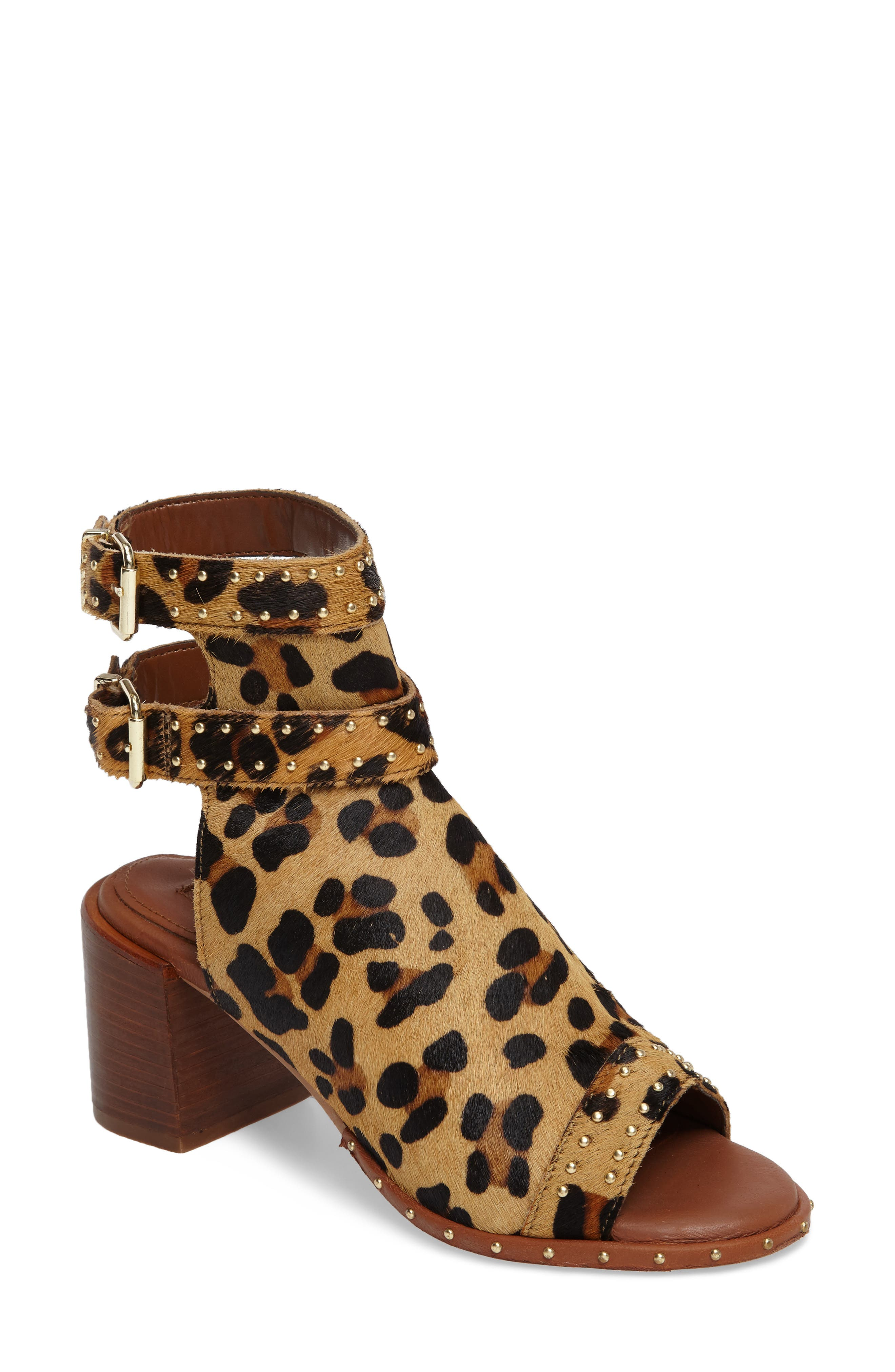 North Studded Bootie Sandal,                             Main thumbnail 1, color,                             Leopard