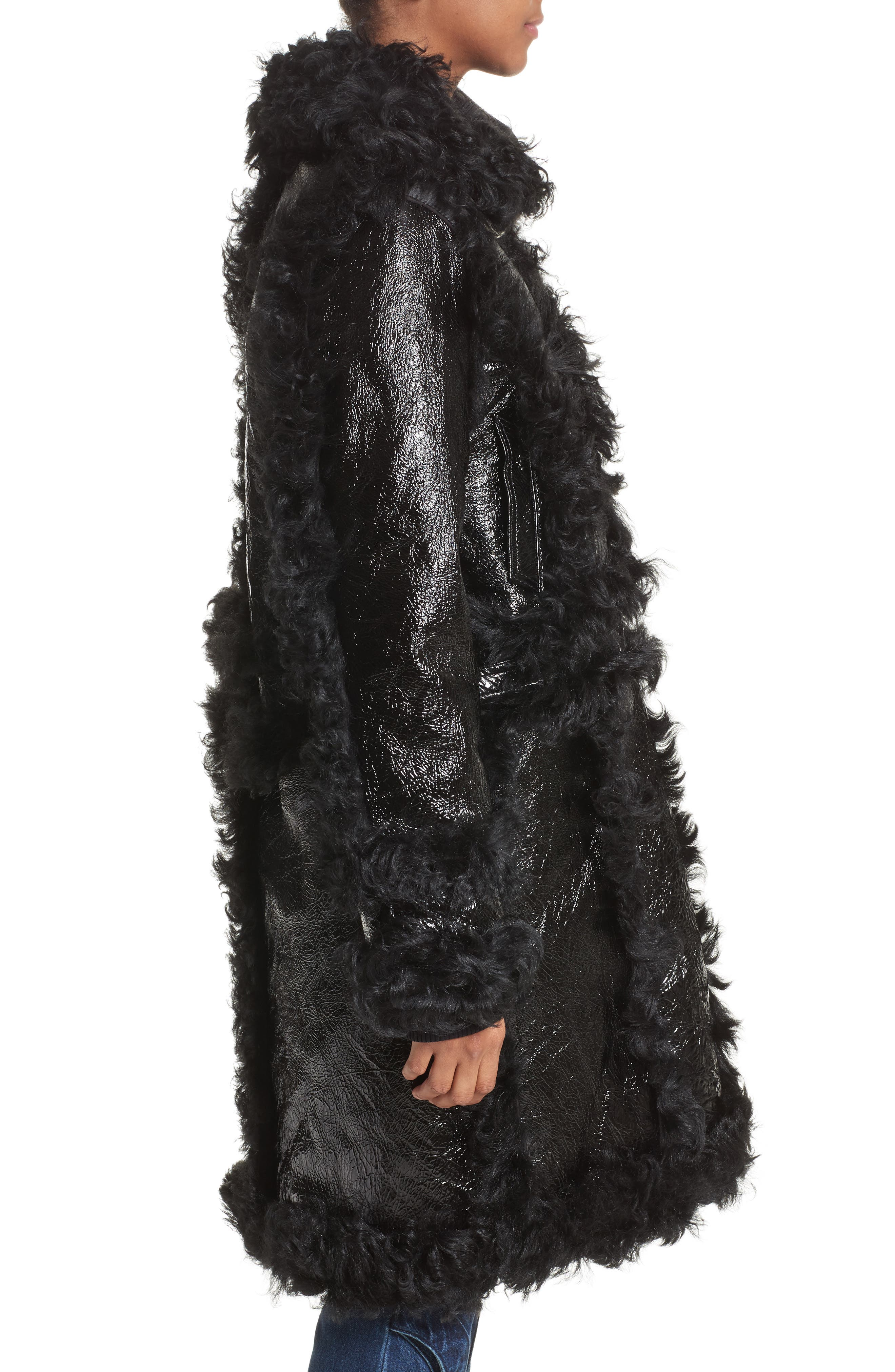 Marques'Almeida Foiled Genuine Shearling Coat,                             Alternate thumbnail 4, color,                             Black/Black