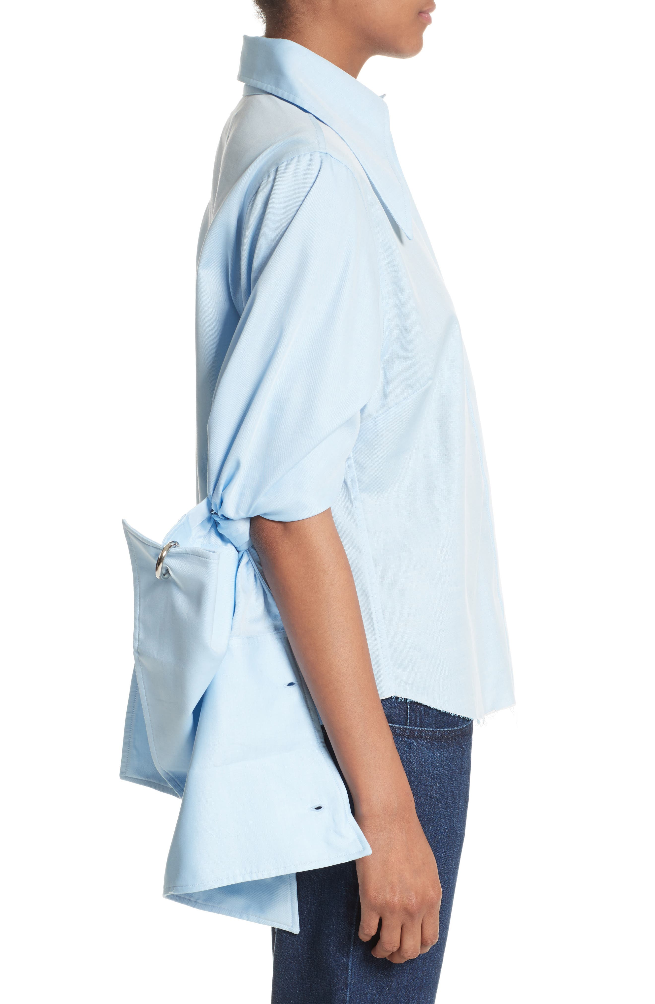 Marques'Almeida Double Sleeve Blouse,                             Alternate thumbnail 3, color,                             Light Blue
