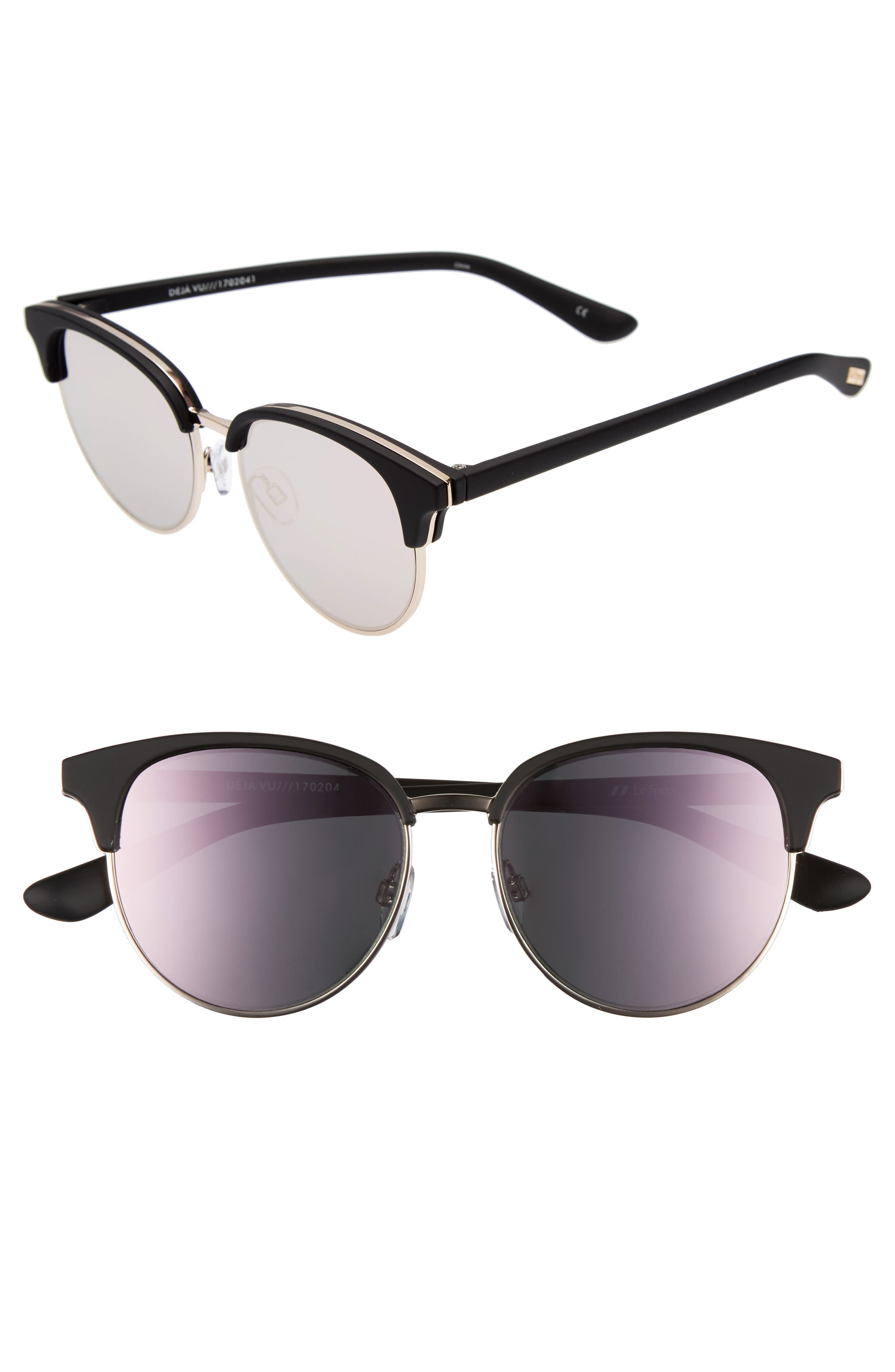 Deja Vu 51mm Round Sunglasses,                             Main thumbnail 1, color,                             Black Rubber
