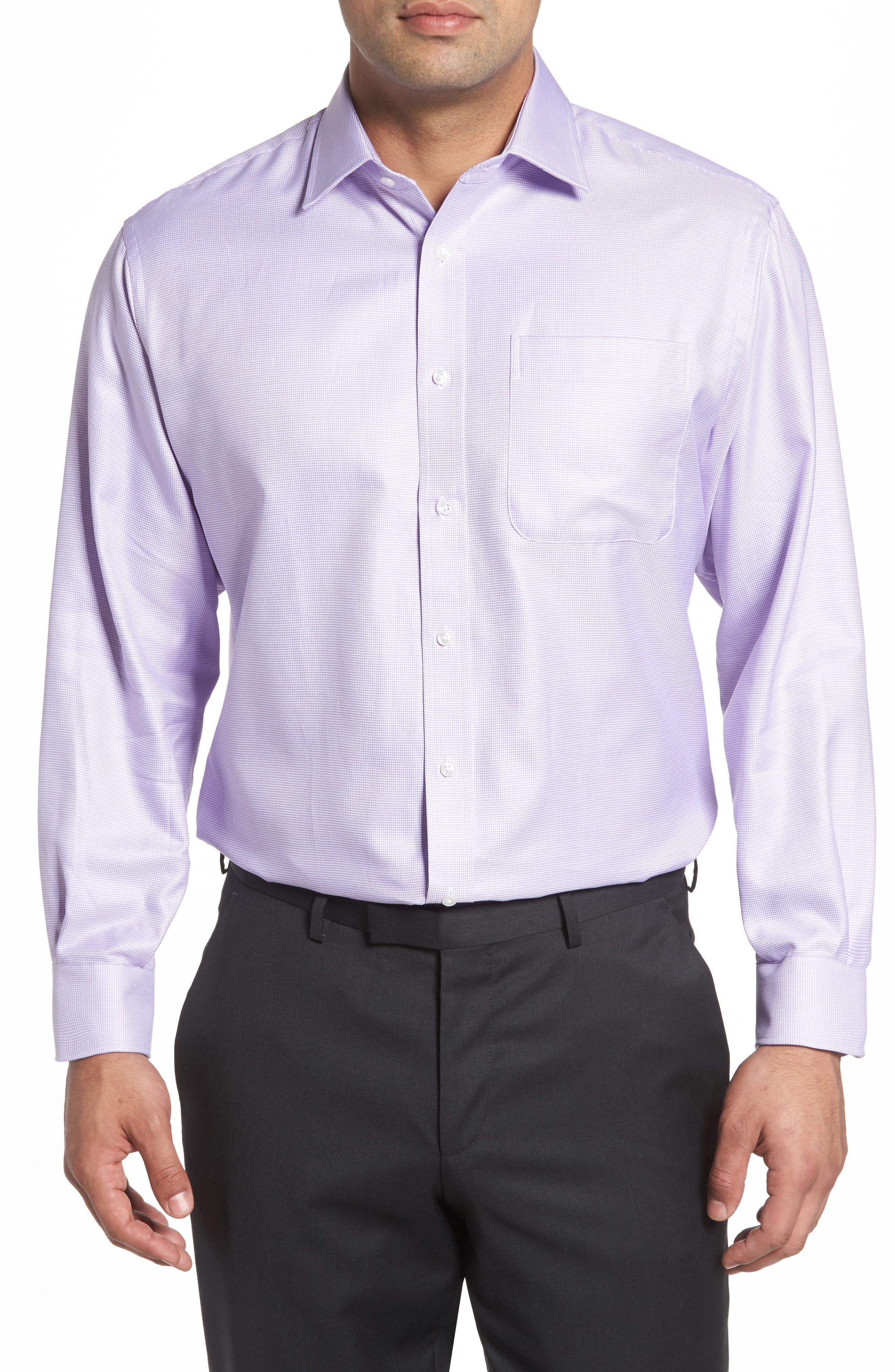 Classic Fit Microgrid Dress Shirt,                         Main,                         color, Purple Bonnet