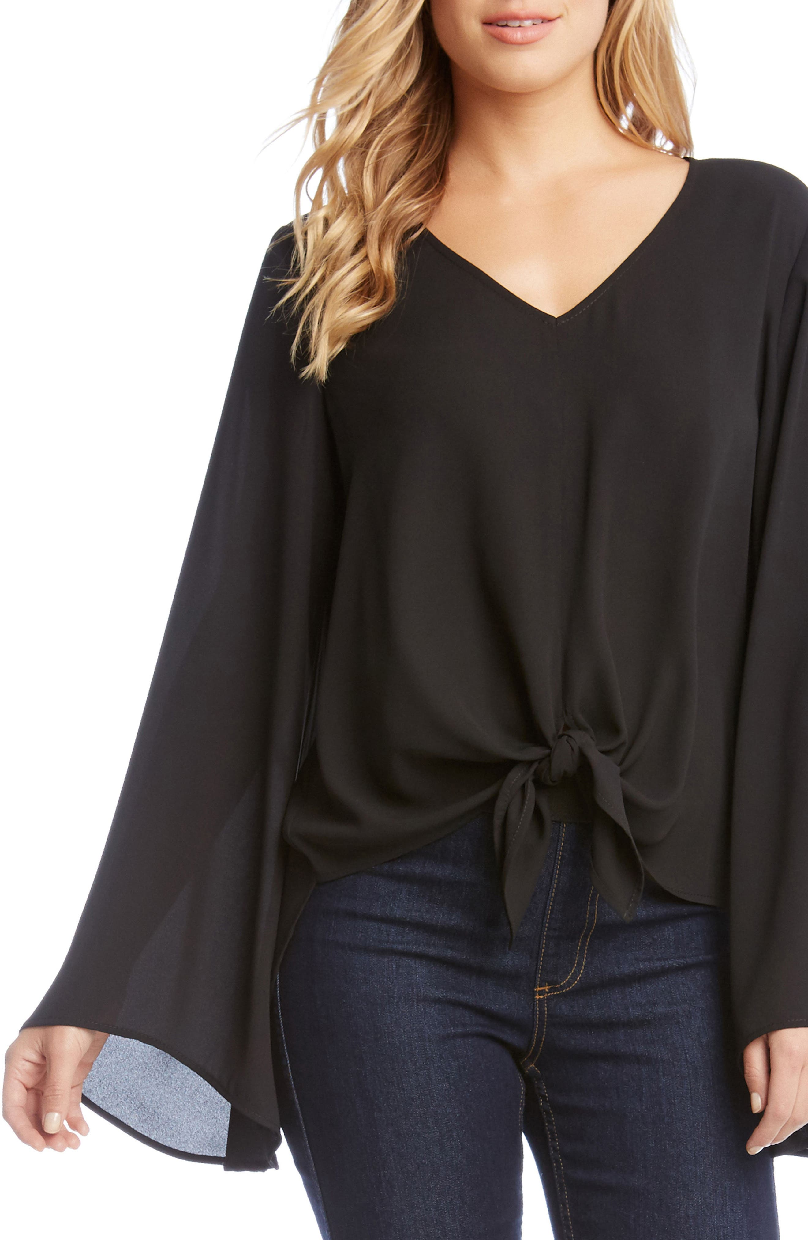 Bell Sleeve Tie Front Top,                             Main thumbnail 1, color,                             Black